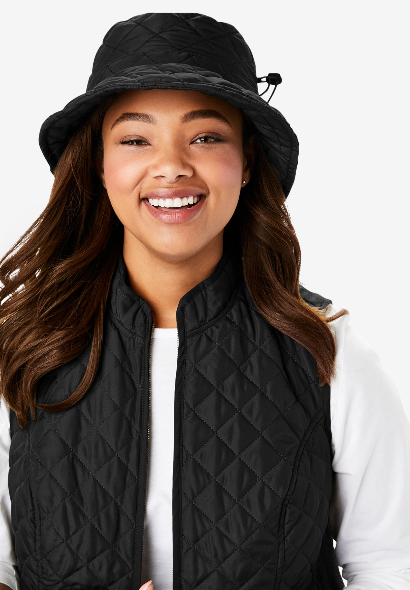 Quilted Bucket Hat, BLACK