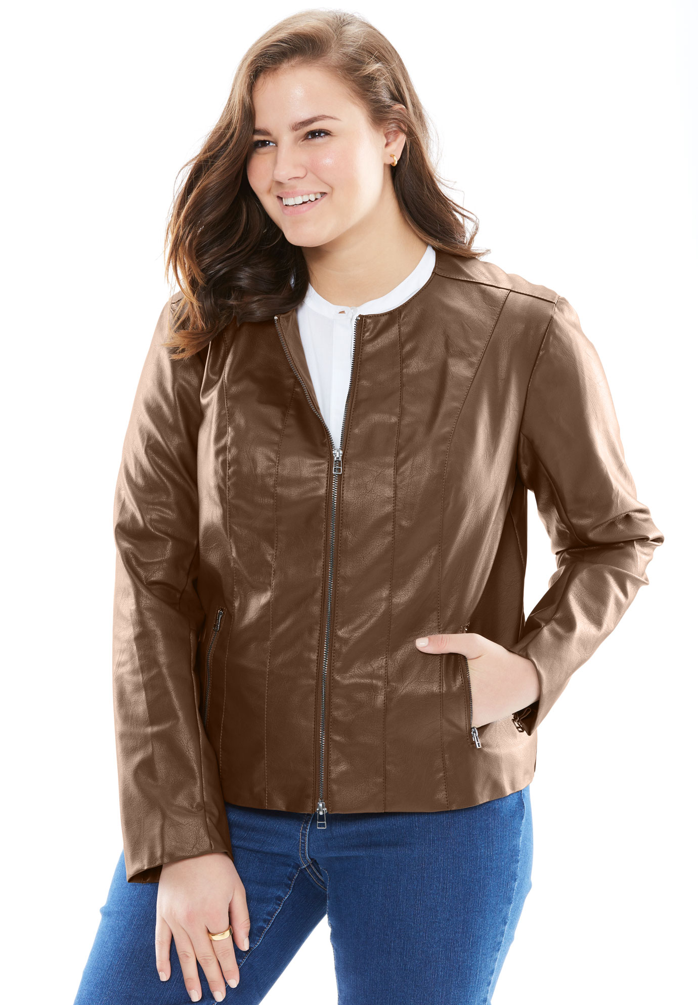 Faux leather jacket, CHESTNUT, hi-res