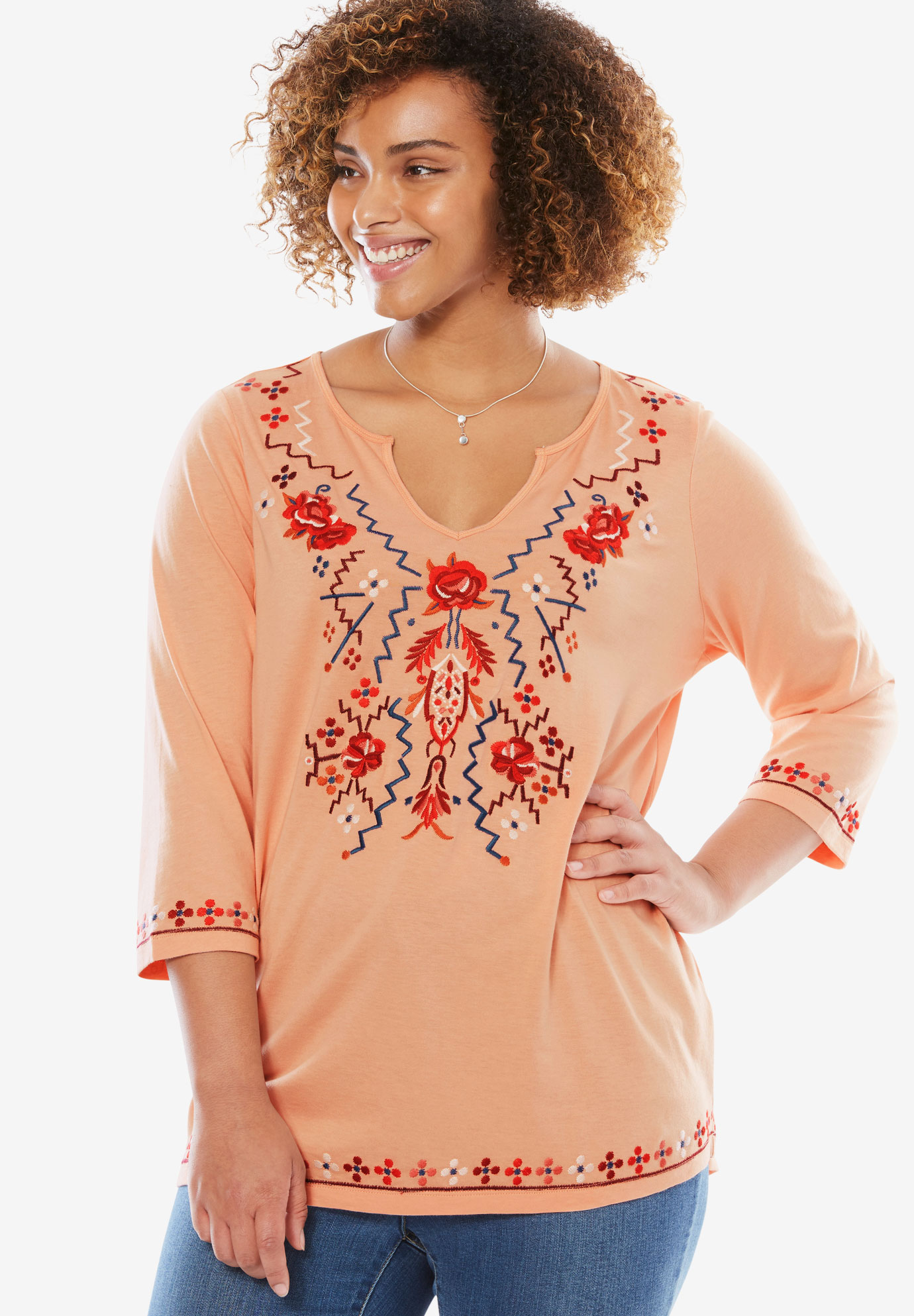 Embroidered Notch Neck Tee, VINTAGE CORAL EMBROIDERY, hi-res
