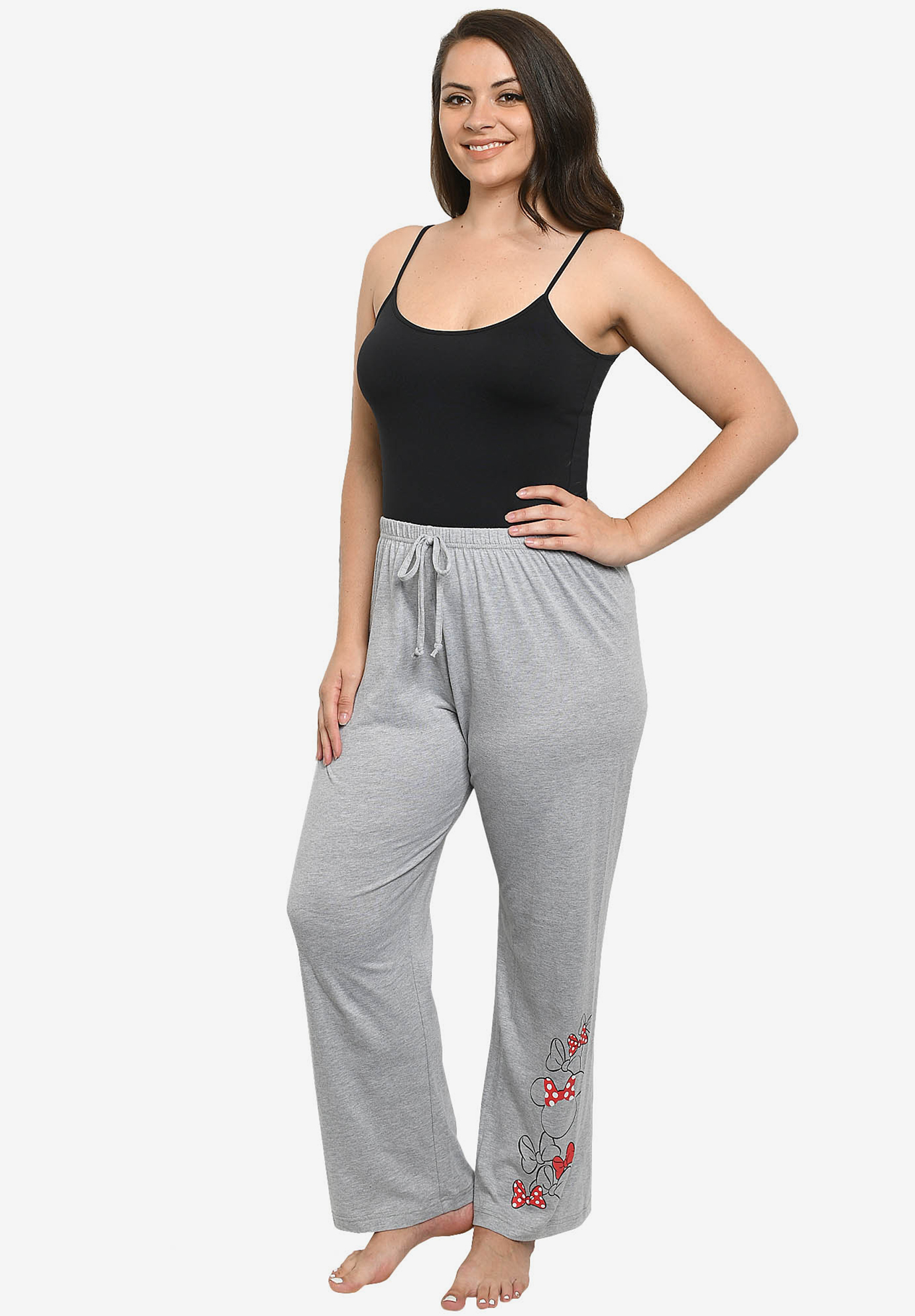 Disney Womens Minnie Mouse Bows Lounge Pants Gray,