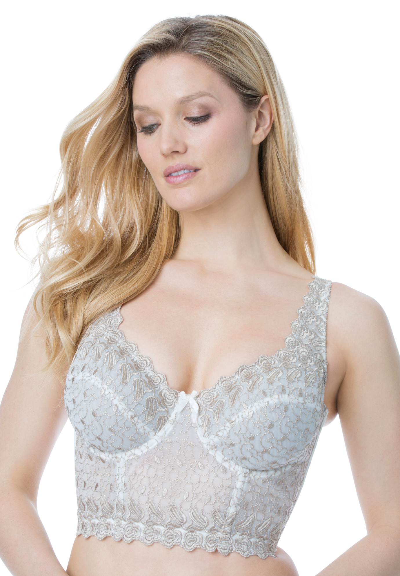 Embroidered Longline Underwire Bra by Amoureuse®,
