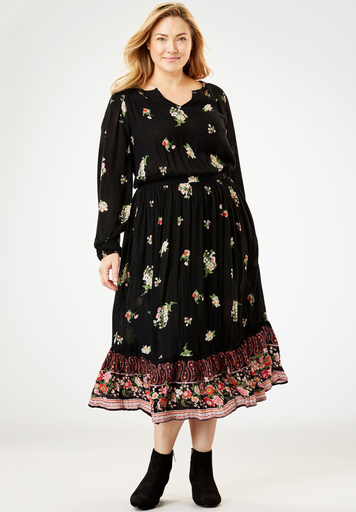 Peasant Crinkle Dress | Plus Size Midi Dresses | Woman Within - photo #10
