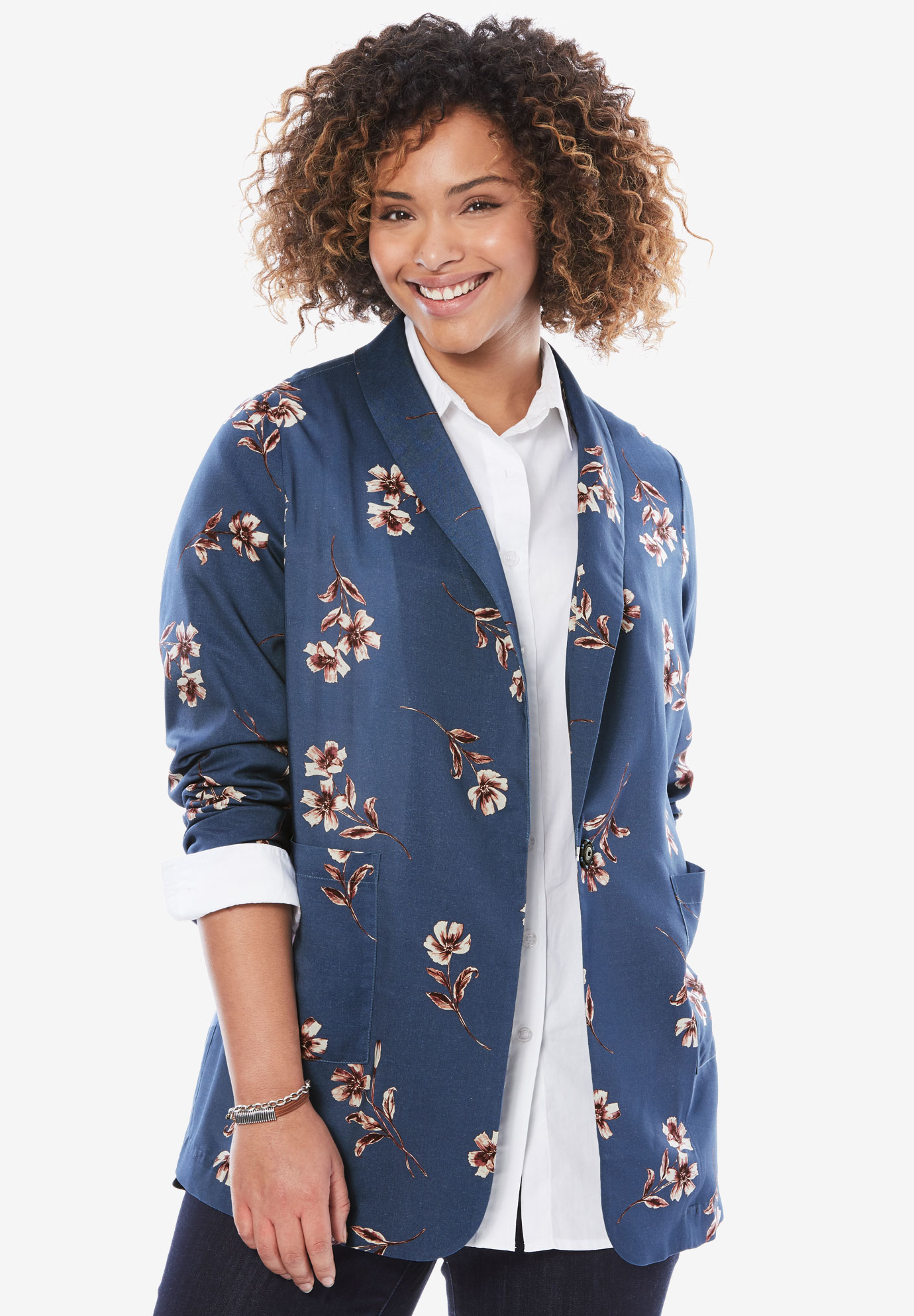 Shawl-Collar Woven Blazer, BERRY ORCHID ILLUSTRATED FLORAL, hi-res