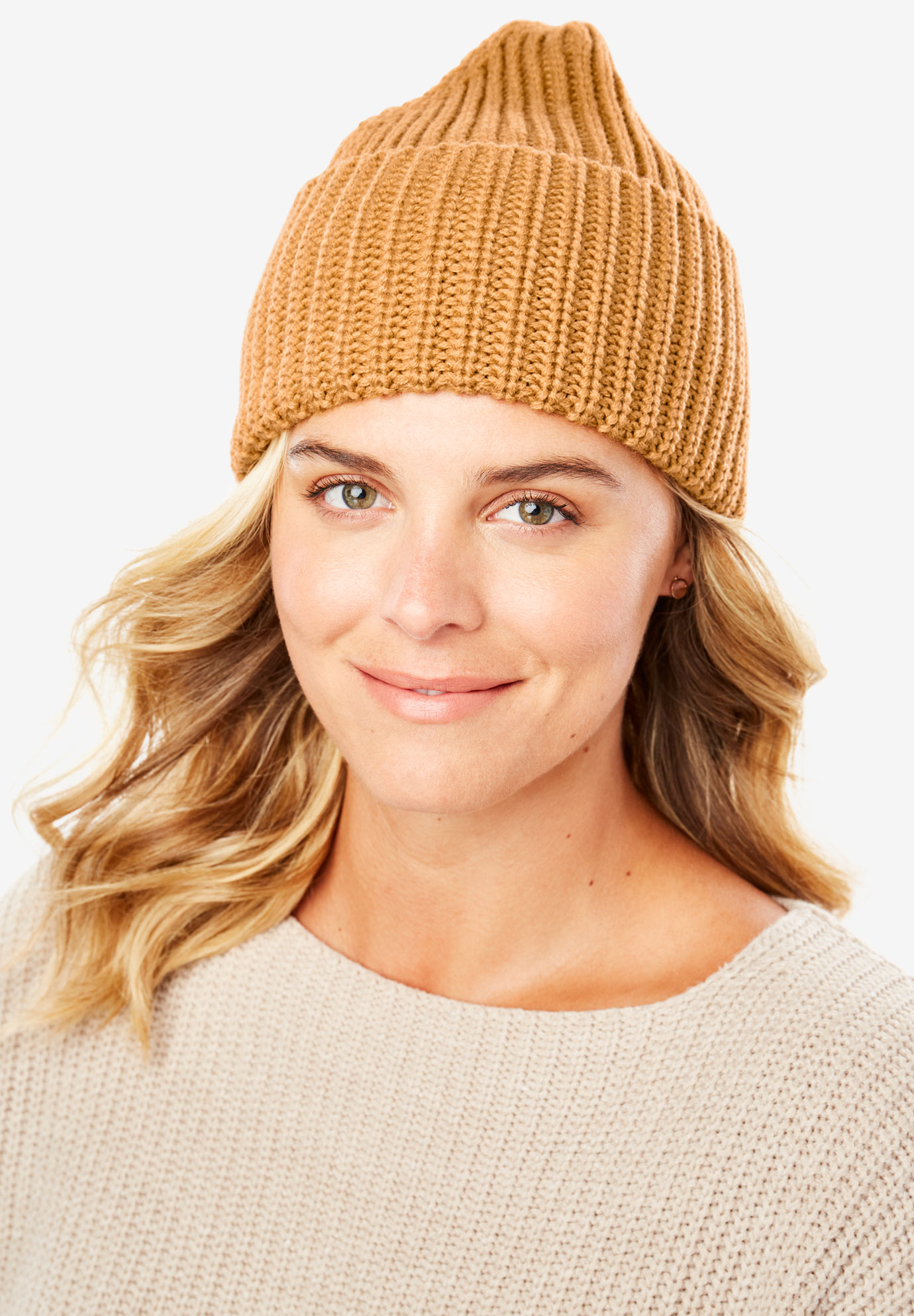 Foldover Rib Knit Beanie, HONEY GLAZE