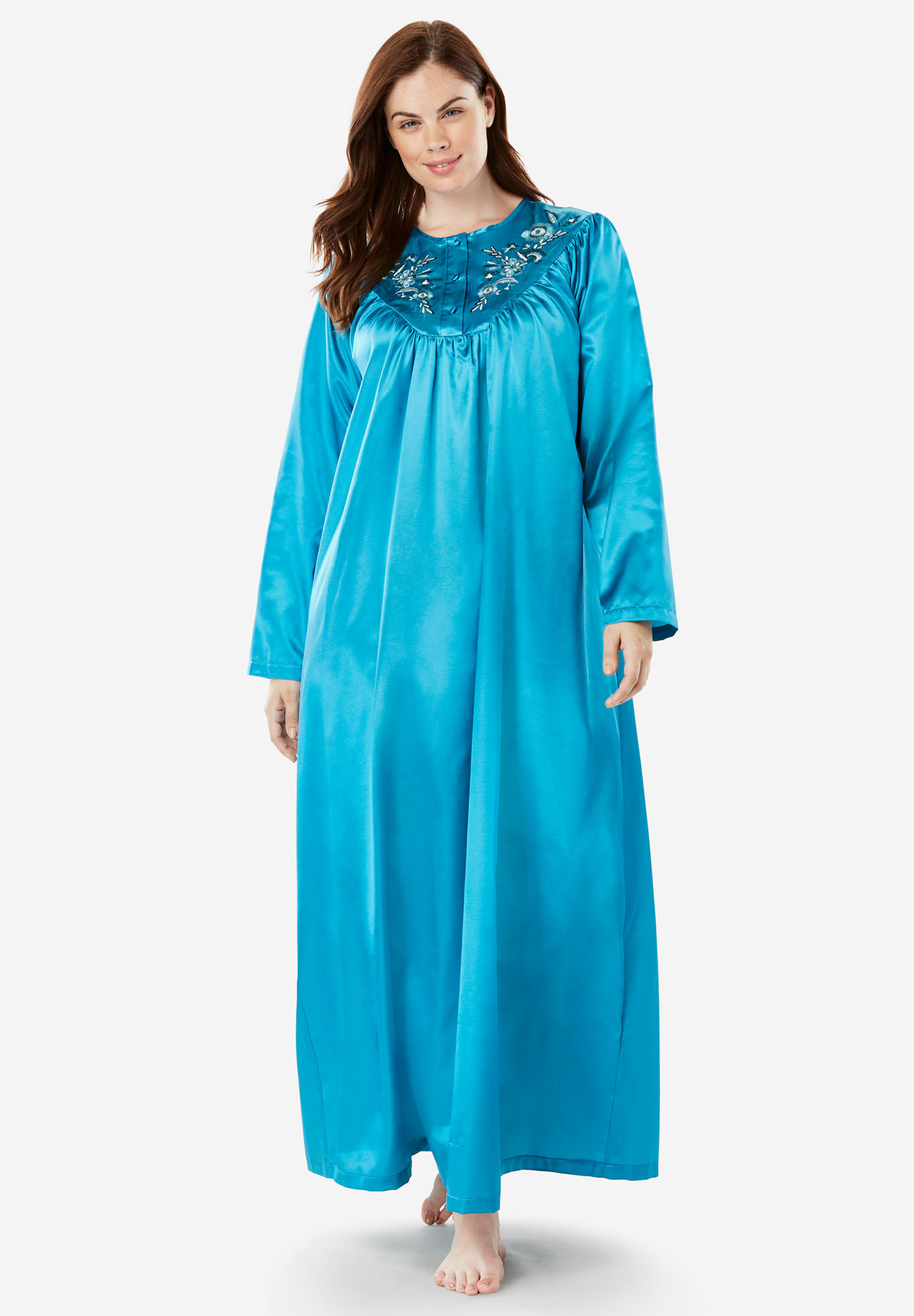 Embroidered Bib Brushed Satin Nightgown by Only Necessities®,