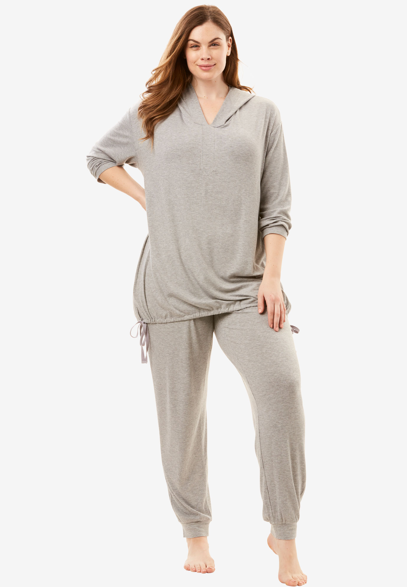 Lightweight Lounge Set by Dreams & Co.®, HEATHER GREY, hi-res