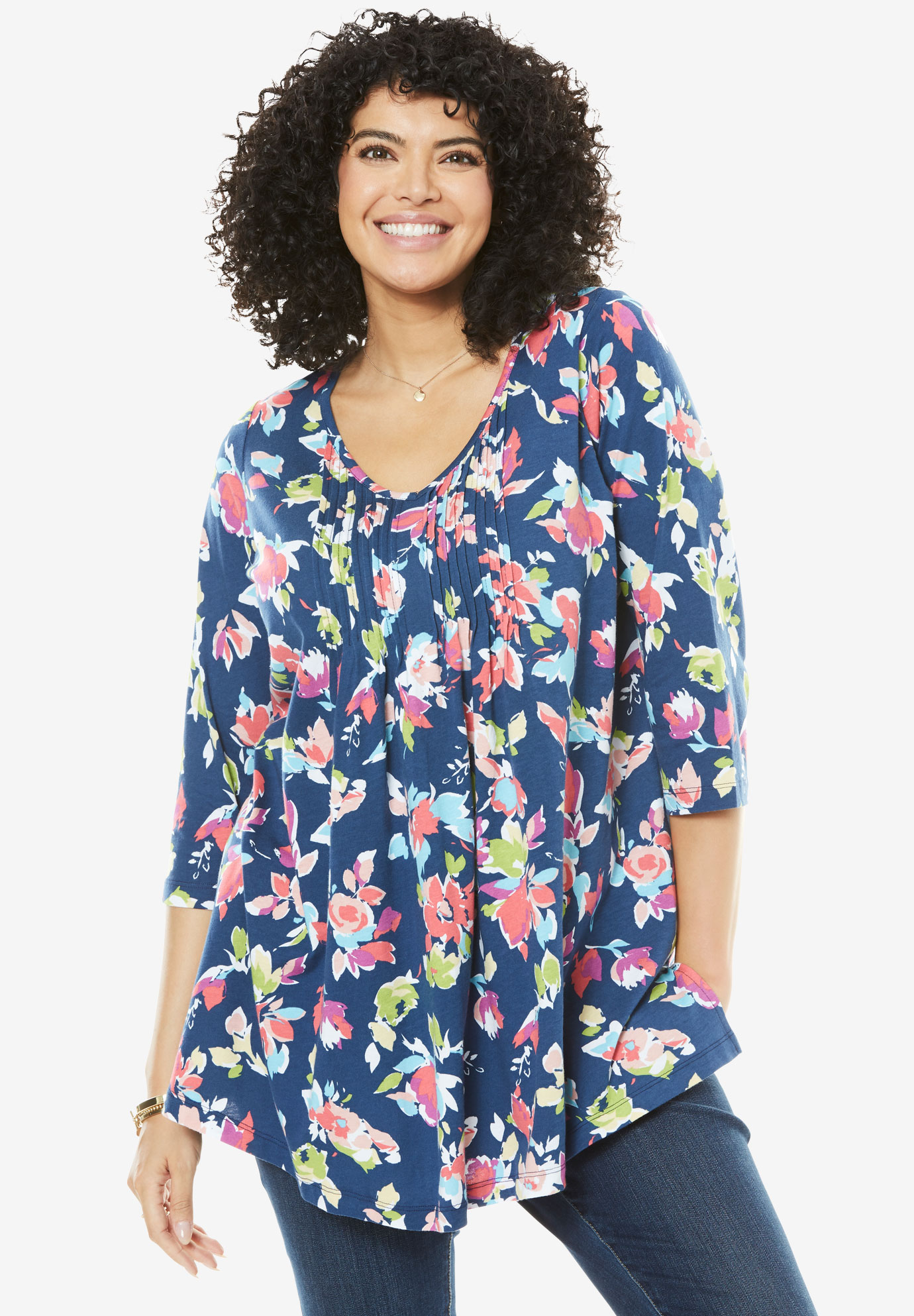 V-Neck Pintuck Tunic,