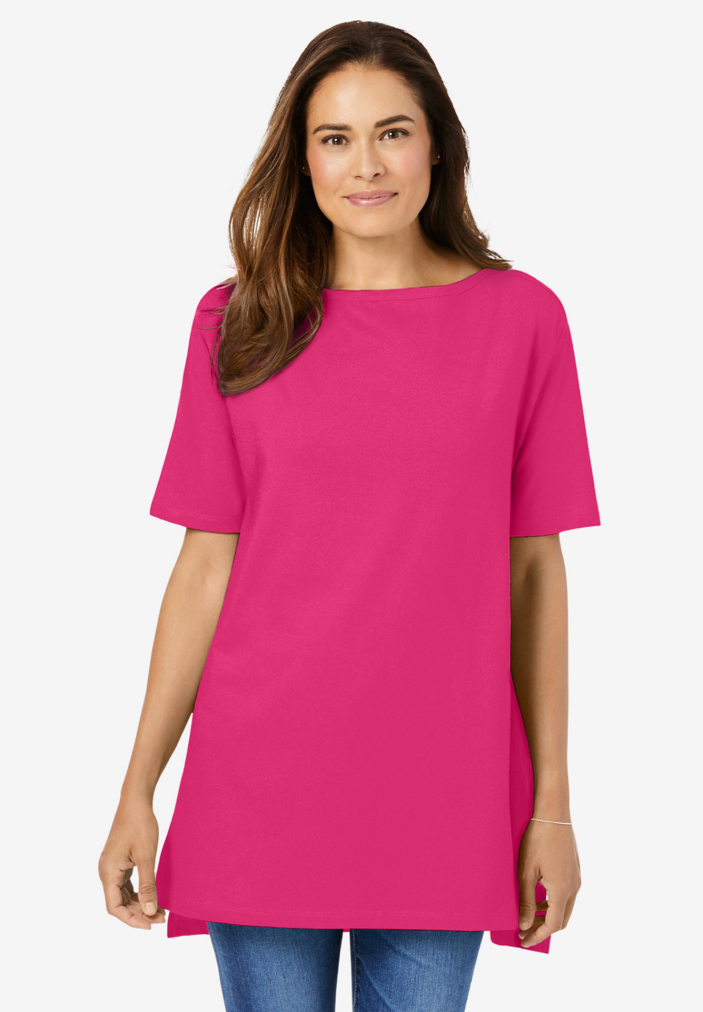 Perfect Boat Neck Elbow-Lengh Sleeve Tunic,