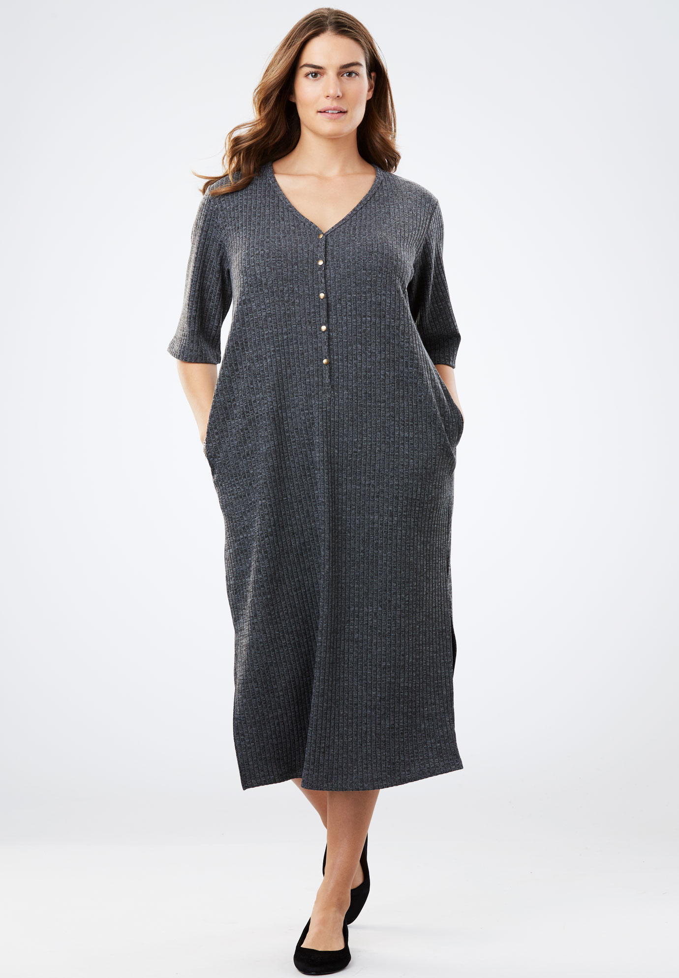 Rib Knit Buttoned T Shirt Dress Plus Size Tops Woman Within