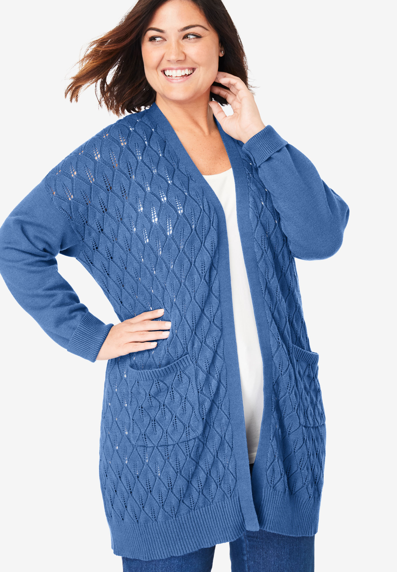Open Front Pointelle Cardigan,