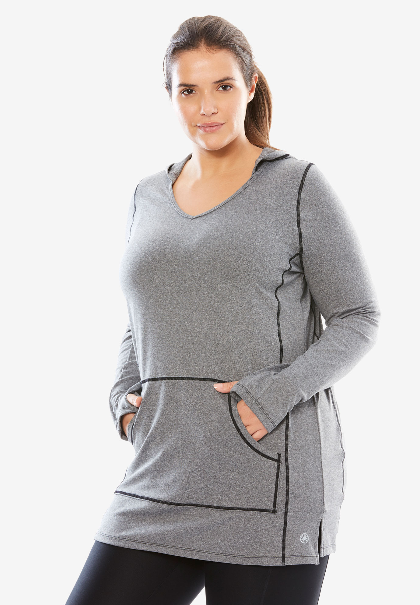 Hooded Tunic, GREY MELANGE, hi-res