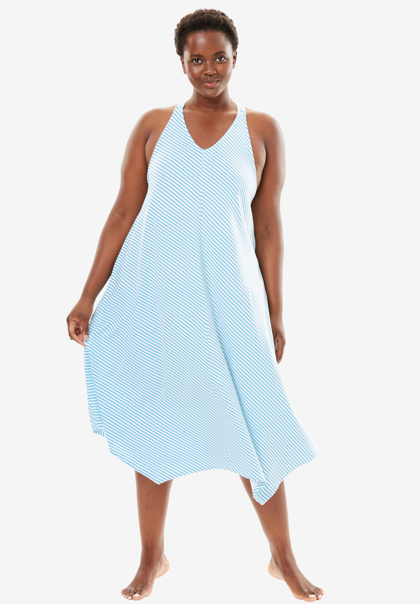 Long V-Neck Nightgown by Dreams & Co.® | Plus Size Sleep Gowns ...