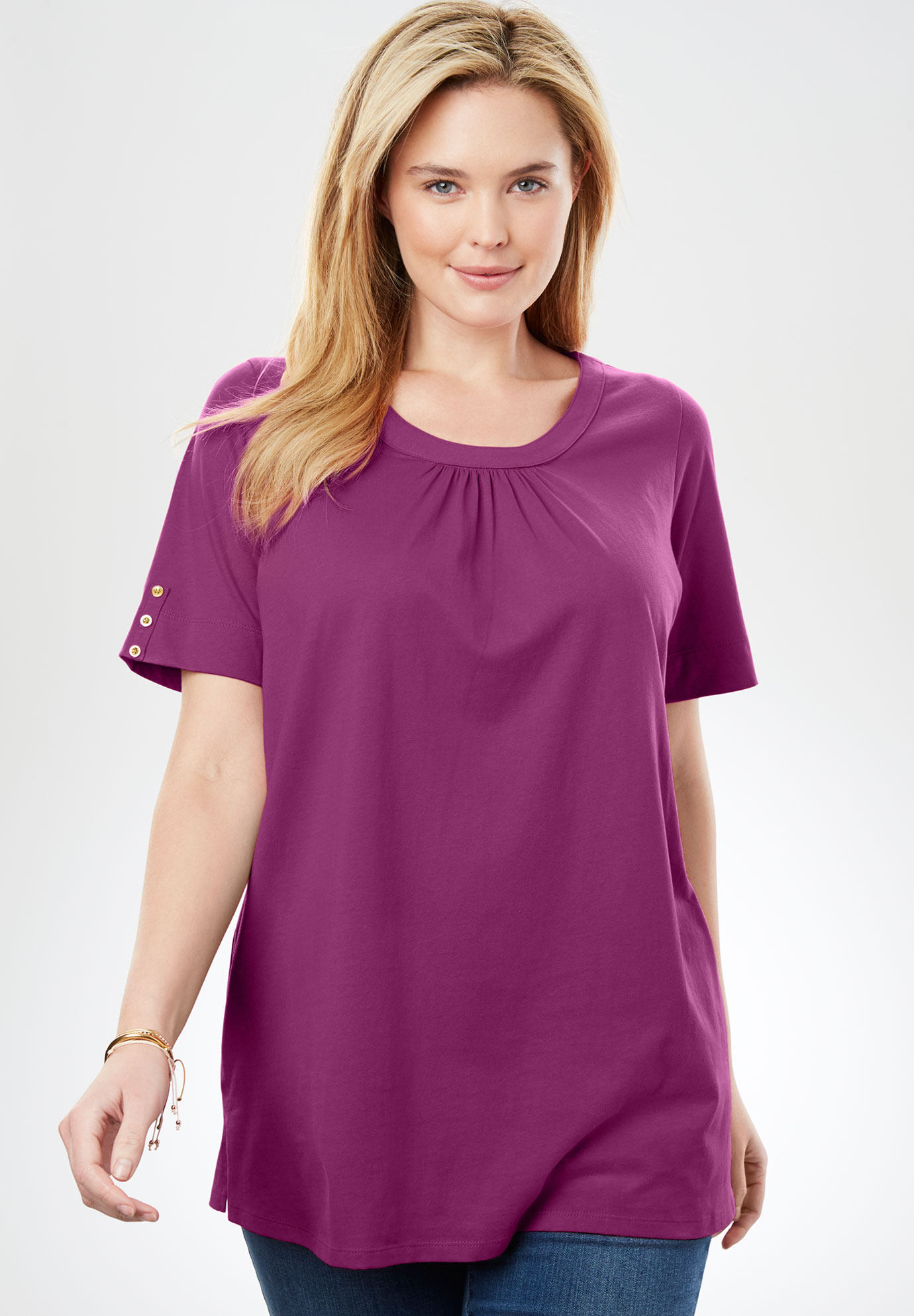 Perfect Button-Sleeve Shirred Scoop Neck Tee,