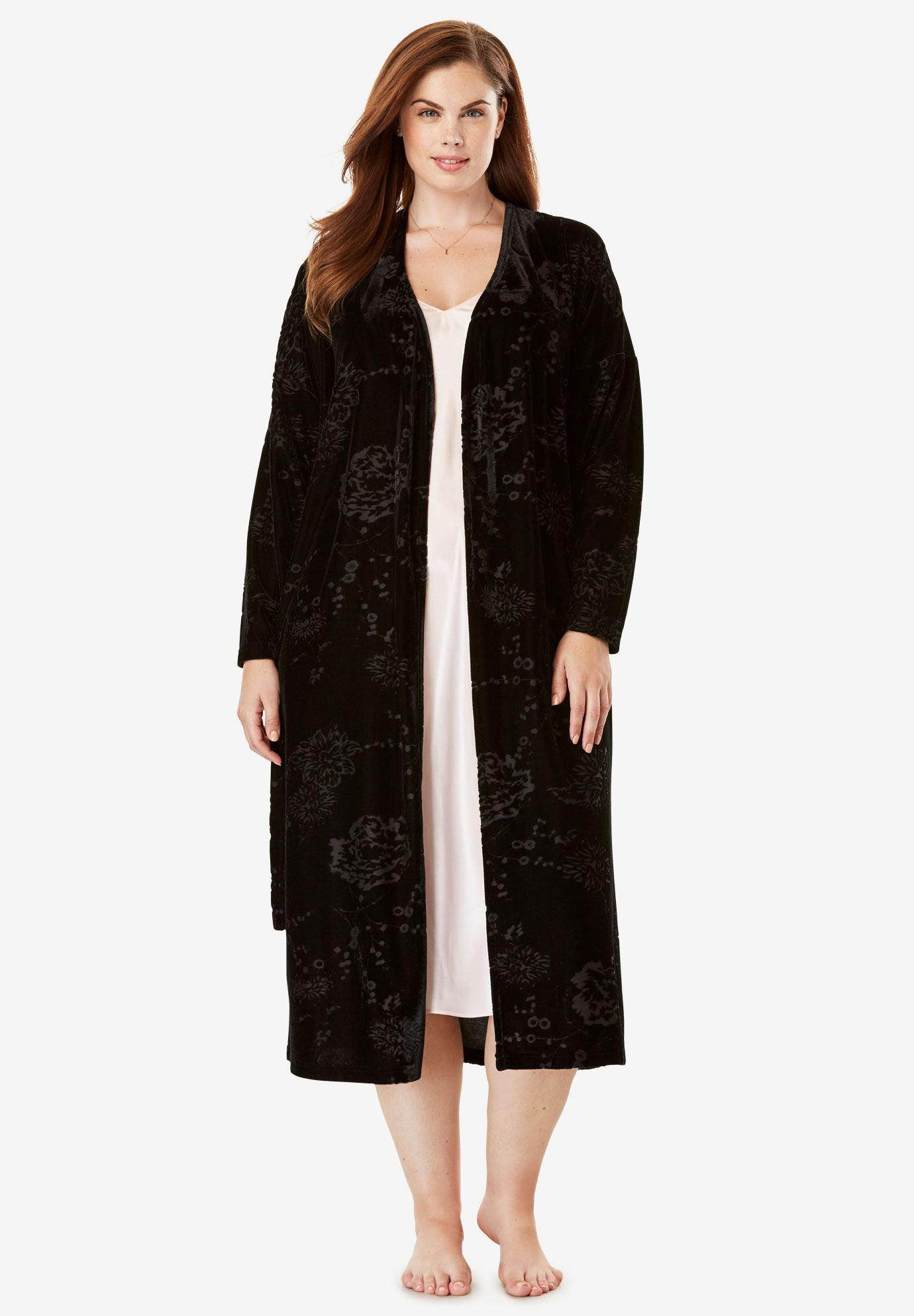 Crushed Velour Burnout Robe by Amoreuse®,
