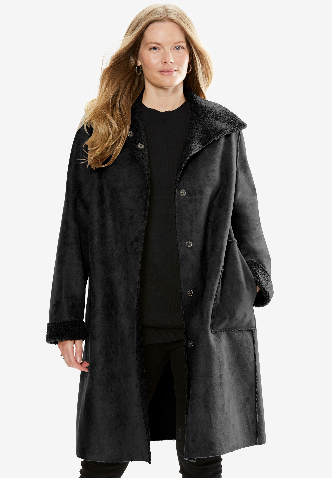 Reversible Faux Sherpa Coat, BLACK, hi-res