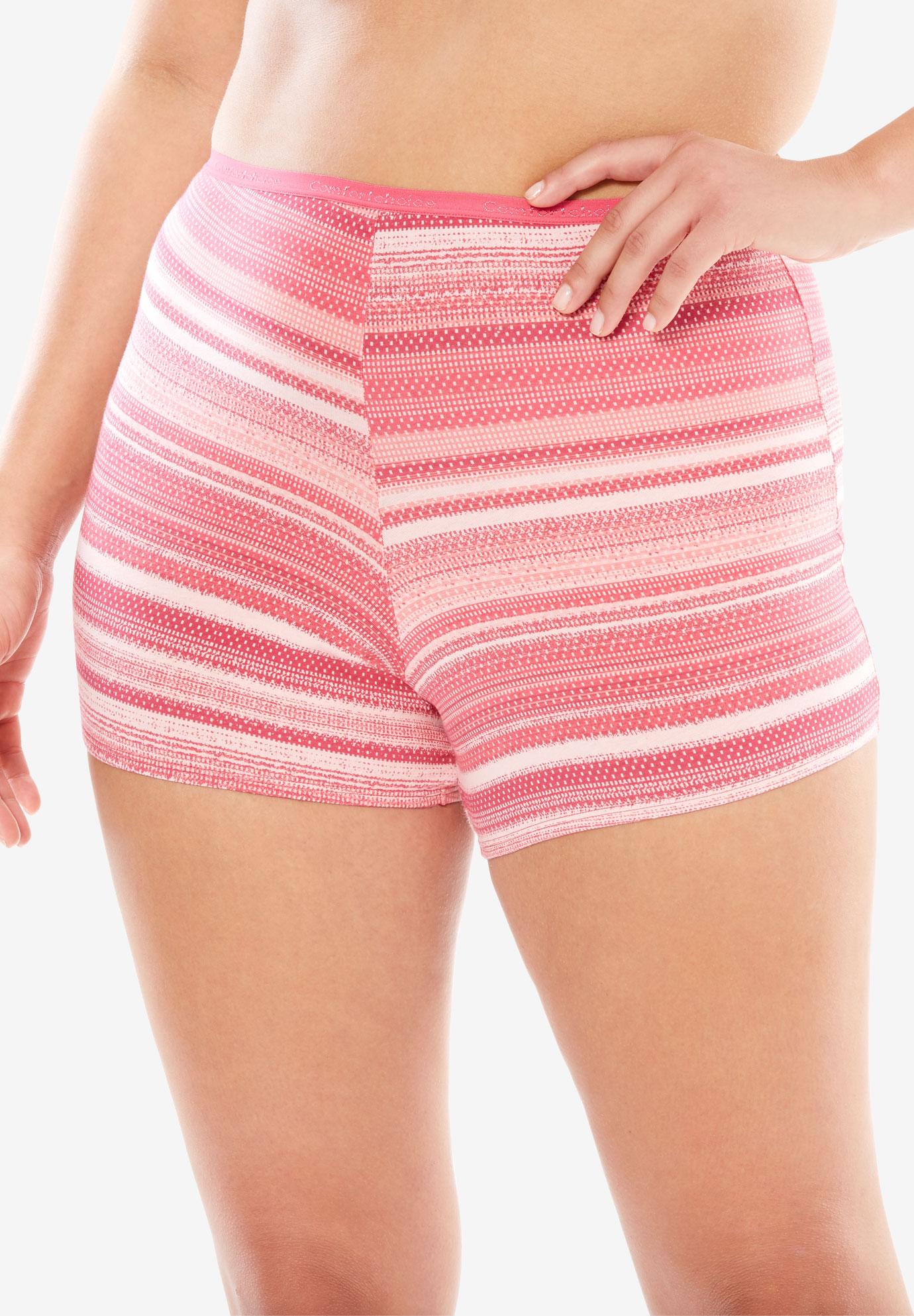 Boyshort By Comfort Choice®, SWEET ROSE MULTI STRIPE, hi-res