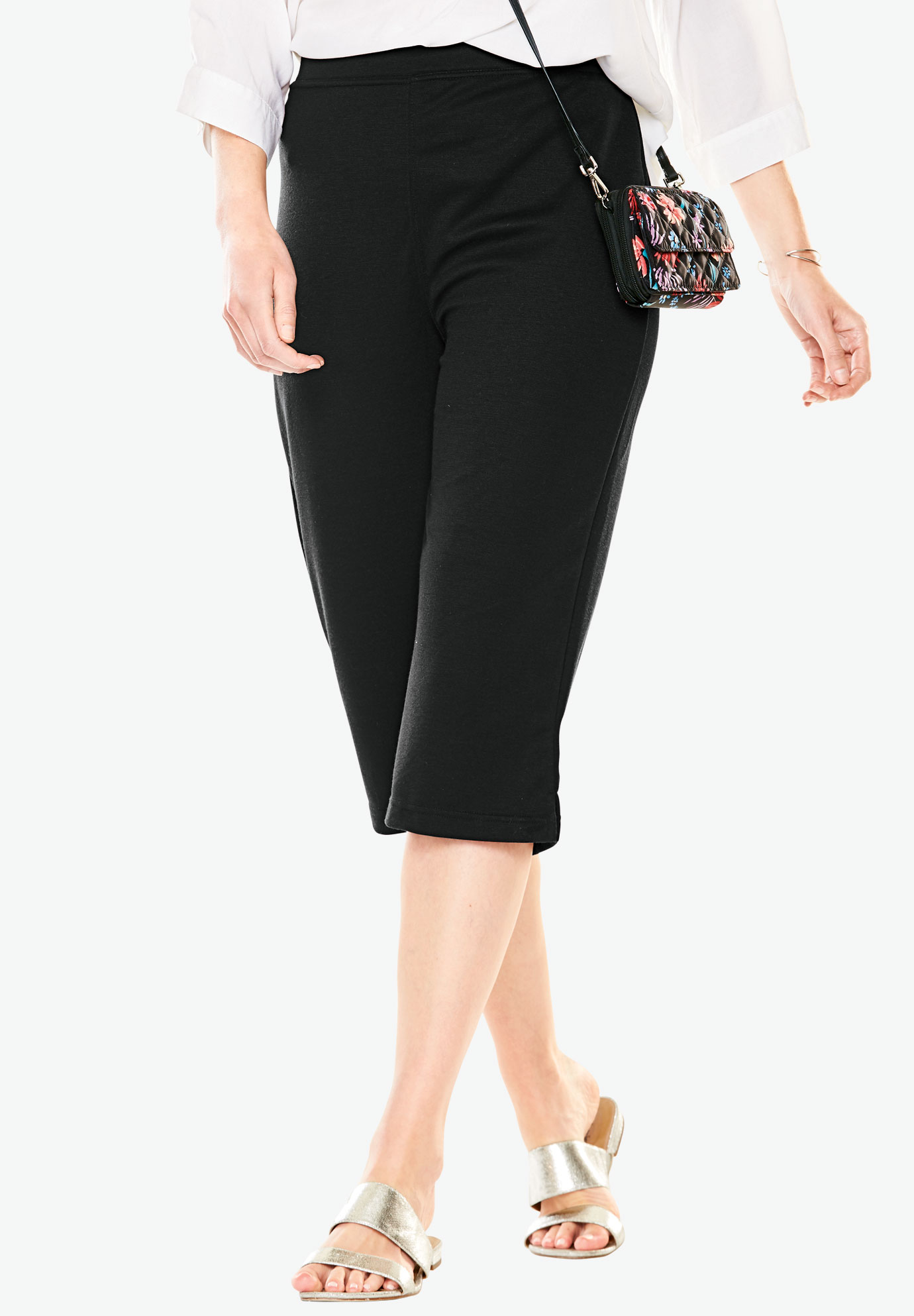 Capri length ponte knit pants,