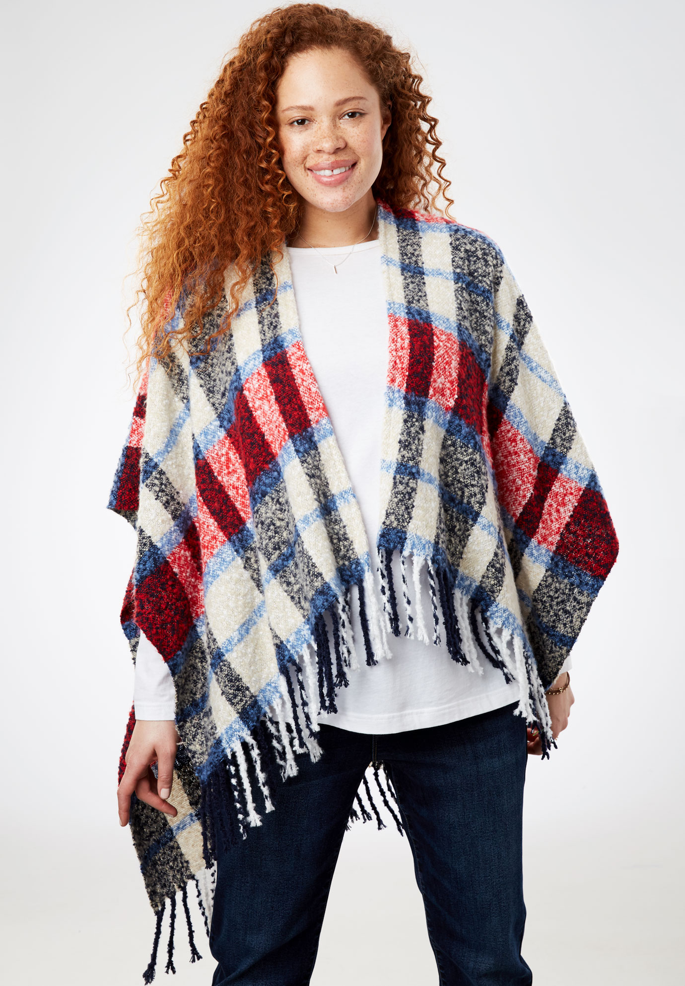 Plaid Wrap with Fringe, BLUE PLAID