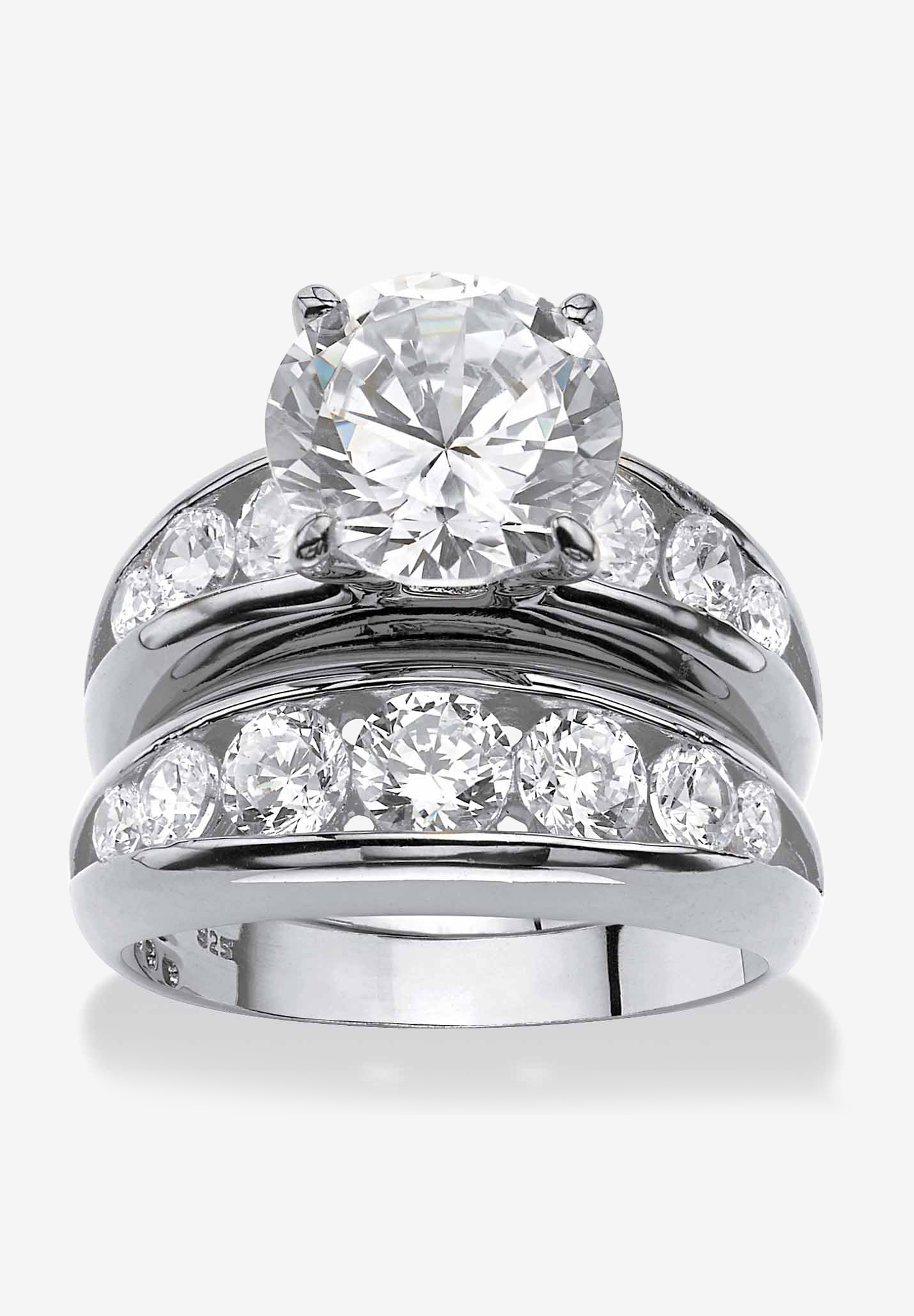 Silvertone Round Cubic Zirconia 2-Piece Channel Set Bridal Ring Set,