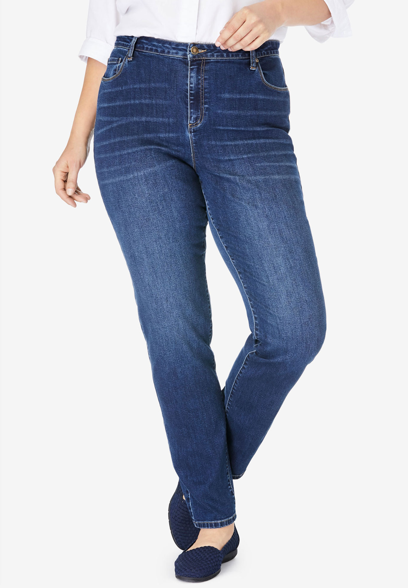 Straight Leg Super Stretch Jean, MIDNIGHT SANDED, hi-res
