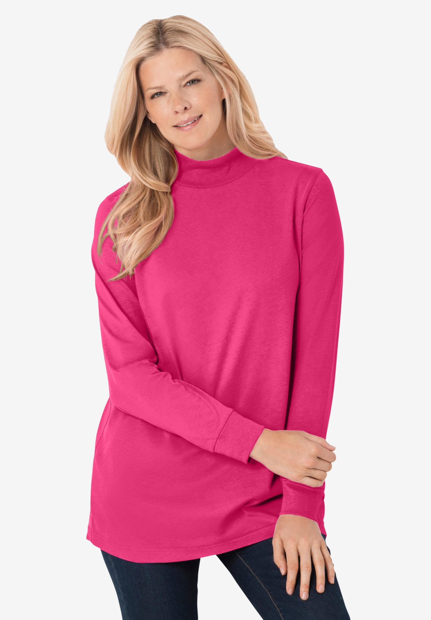 Perfect Long-Sleeve Mock-Neck Tee,