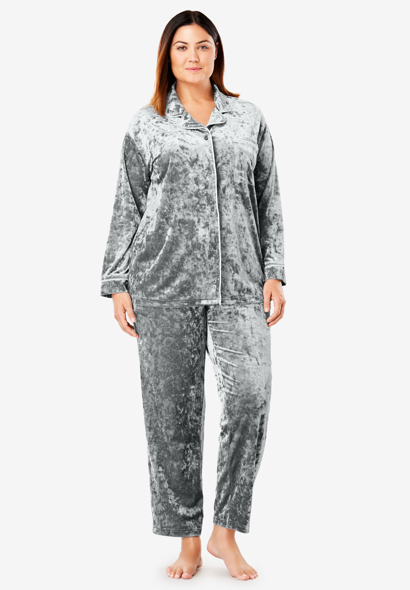 The Crushed Velour PJ Set by Dreams & Co.®,