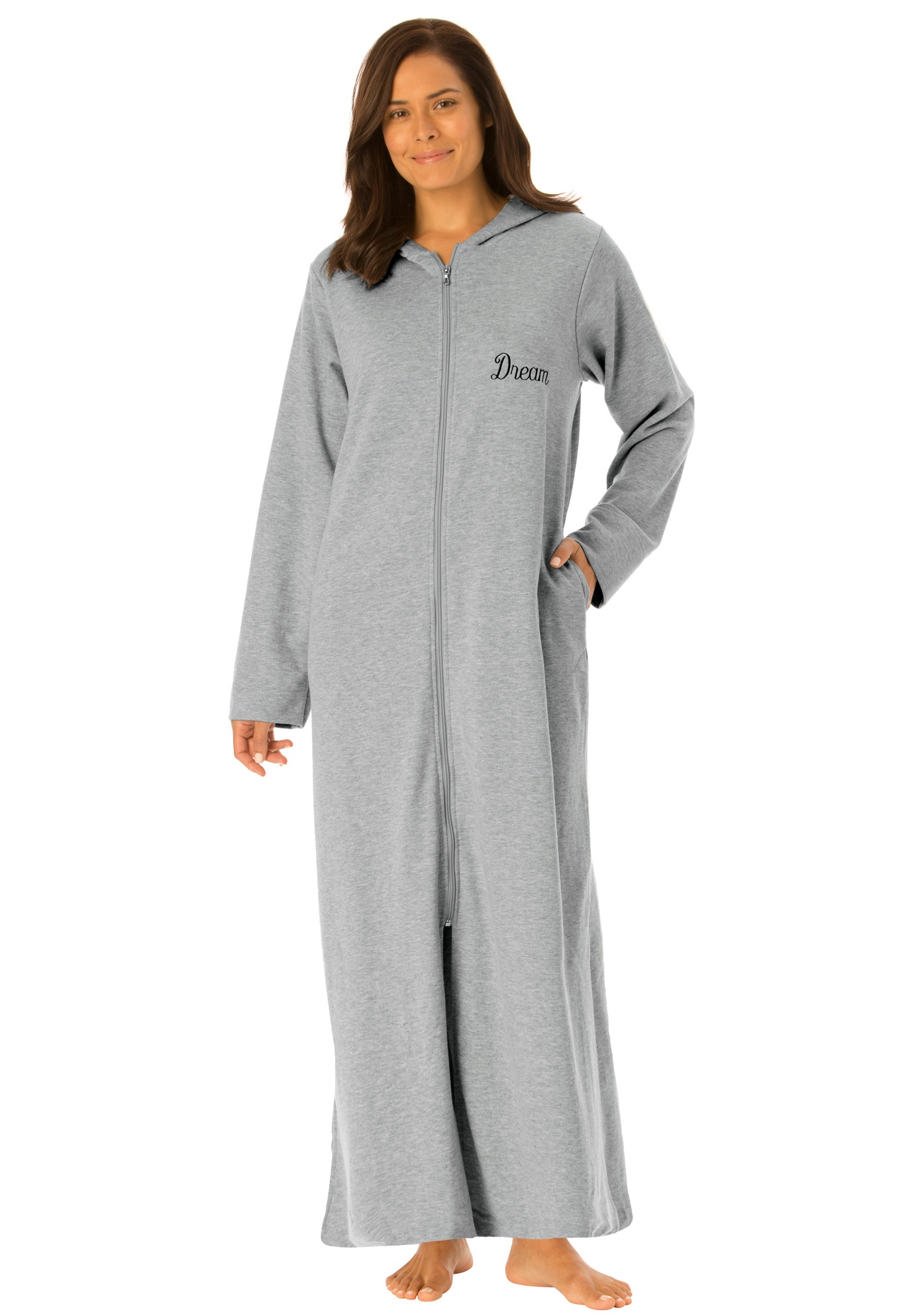 Personalized long ultrasoft hoodie robe by Dreams & Co.®, HEATHER GREY, hi-res