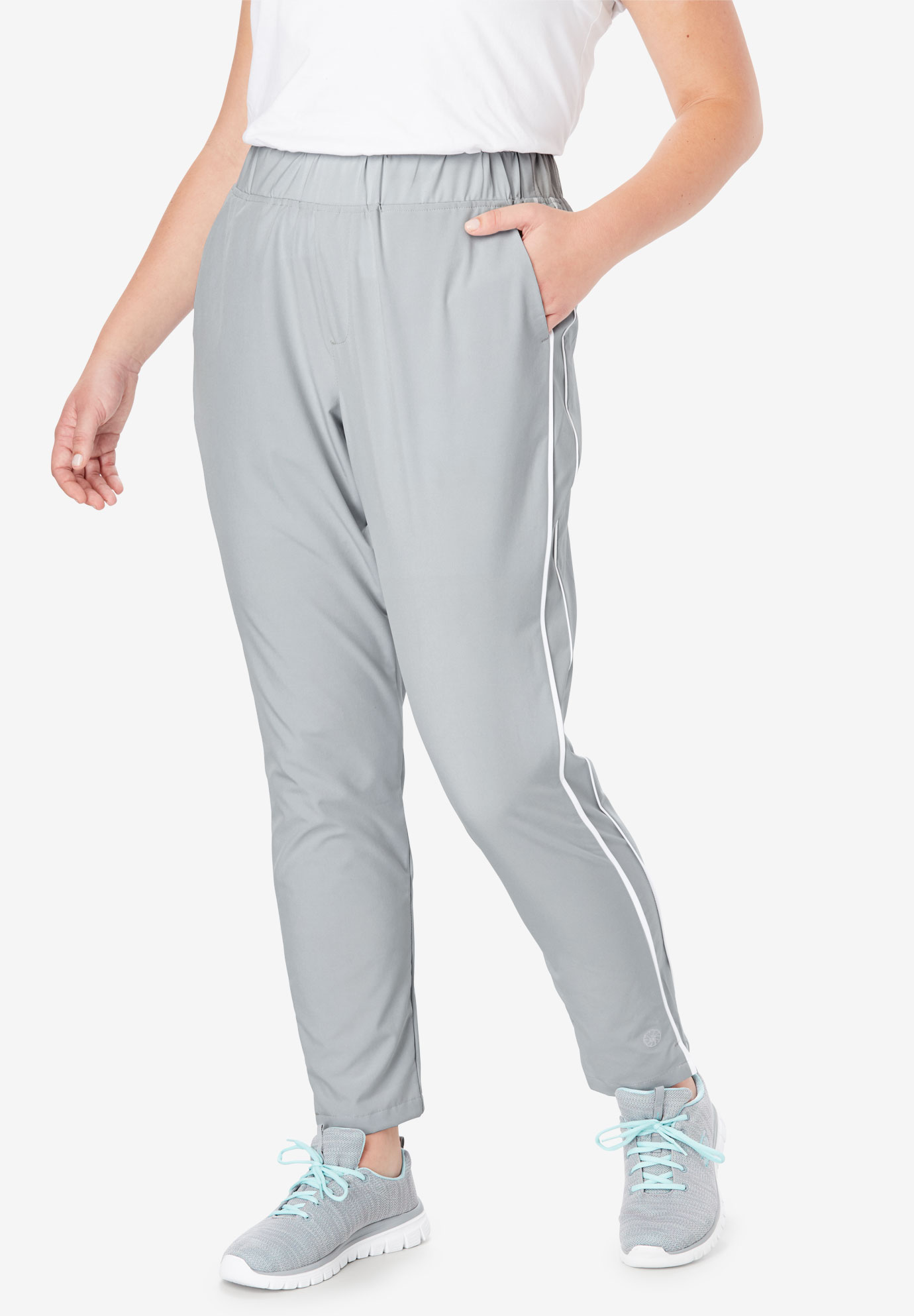 Stretch Woven Side Stripe Pant by FULLBEAUTY SPORT®,
