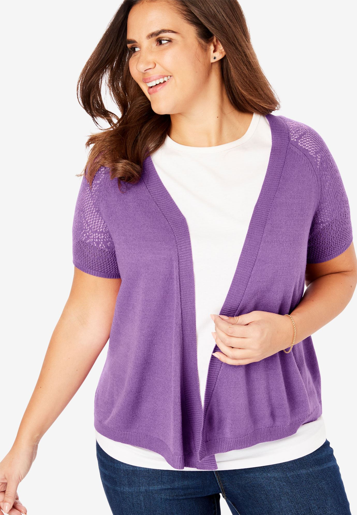 Open front short sleeve pointelle cardigan sweater,
