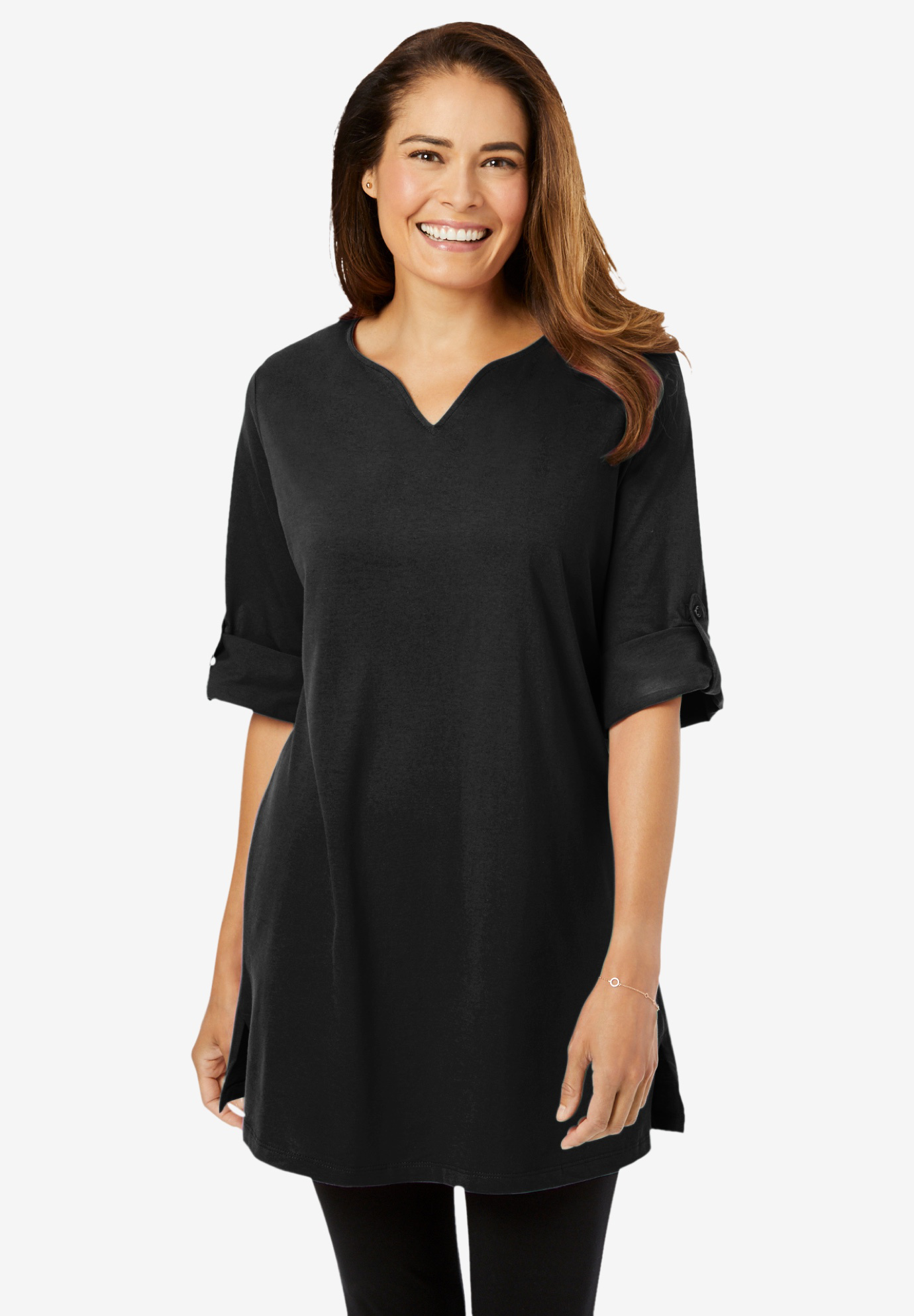 Perfect tunic with notched neck, BLACK, hi-res
