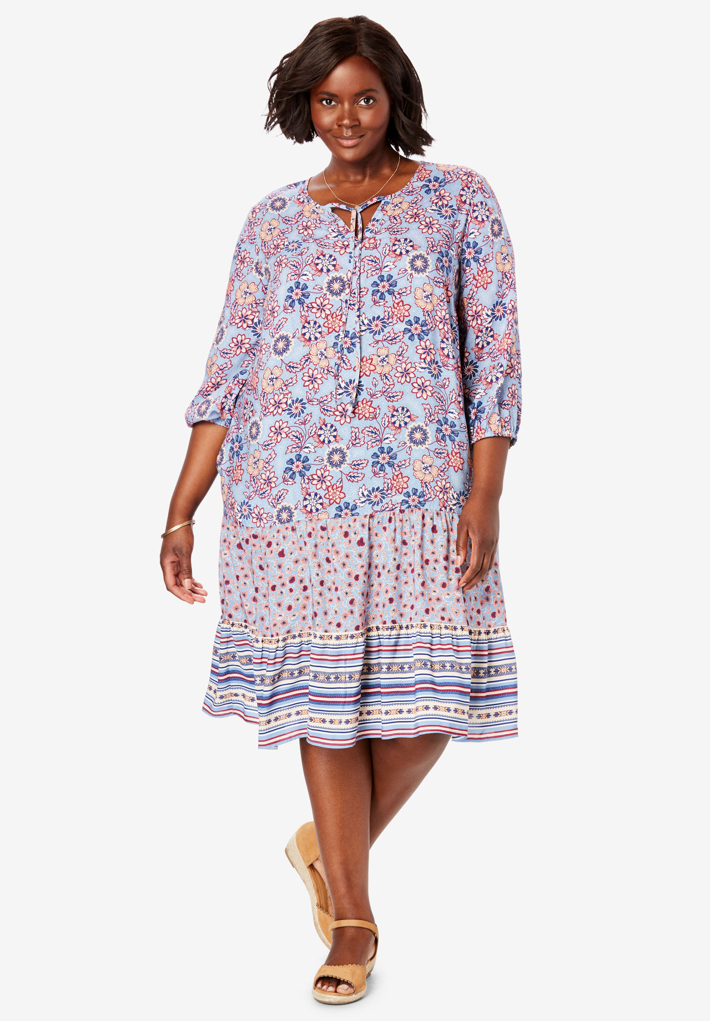 Mixed-Print Tiered Dress,