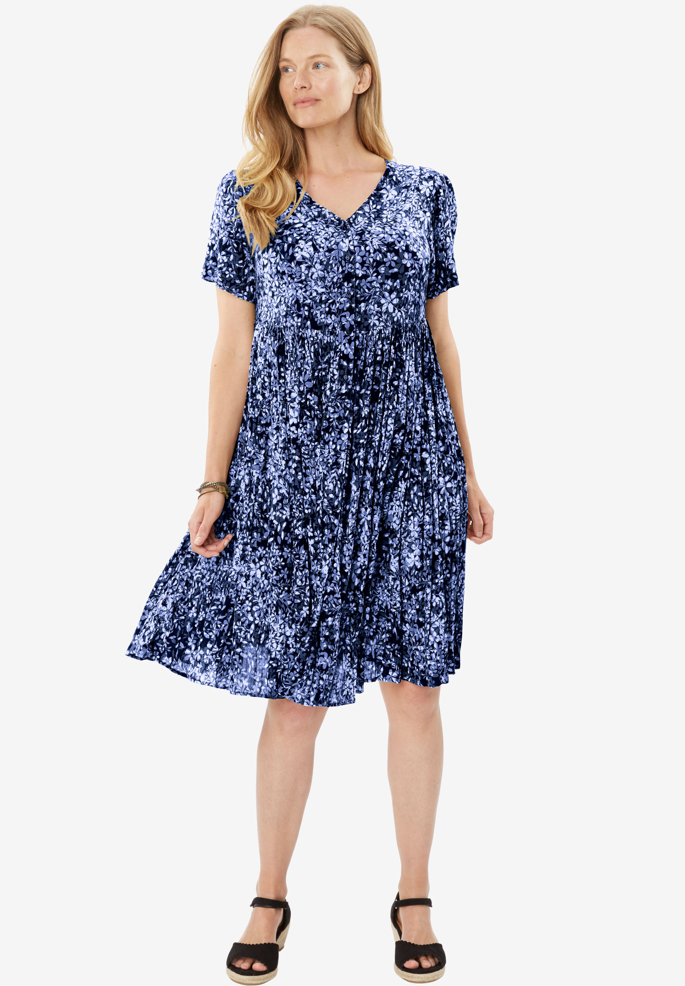 Short, button-front crinkle dress, NAVY SHADOW FLORAL, hi-res