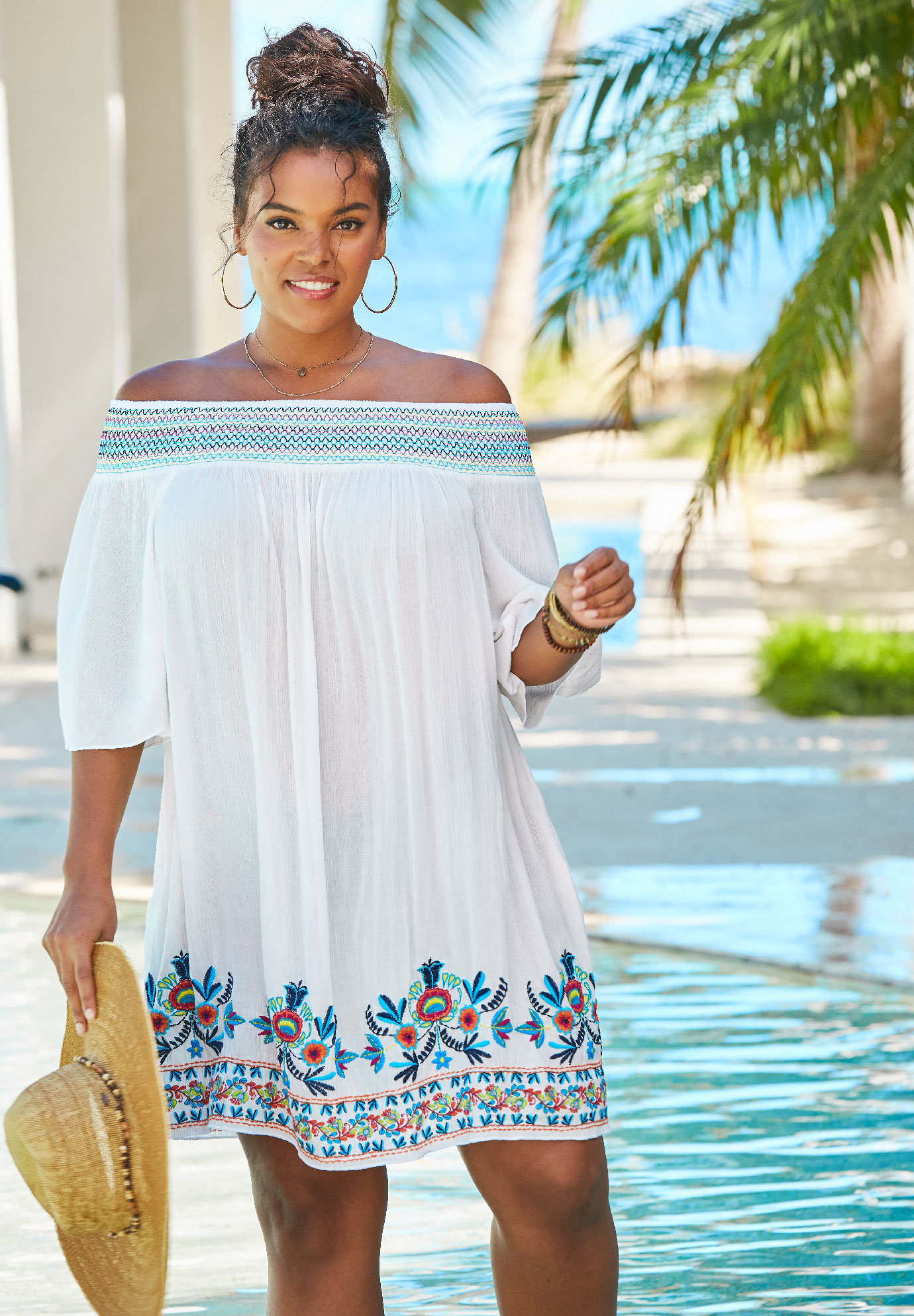 Off-The-Shoulder Cover Up ,