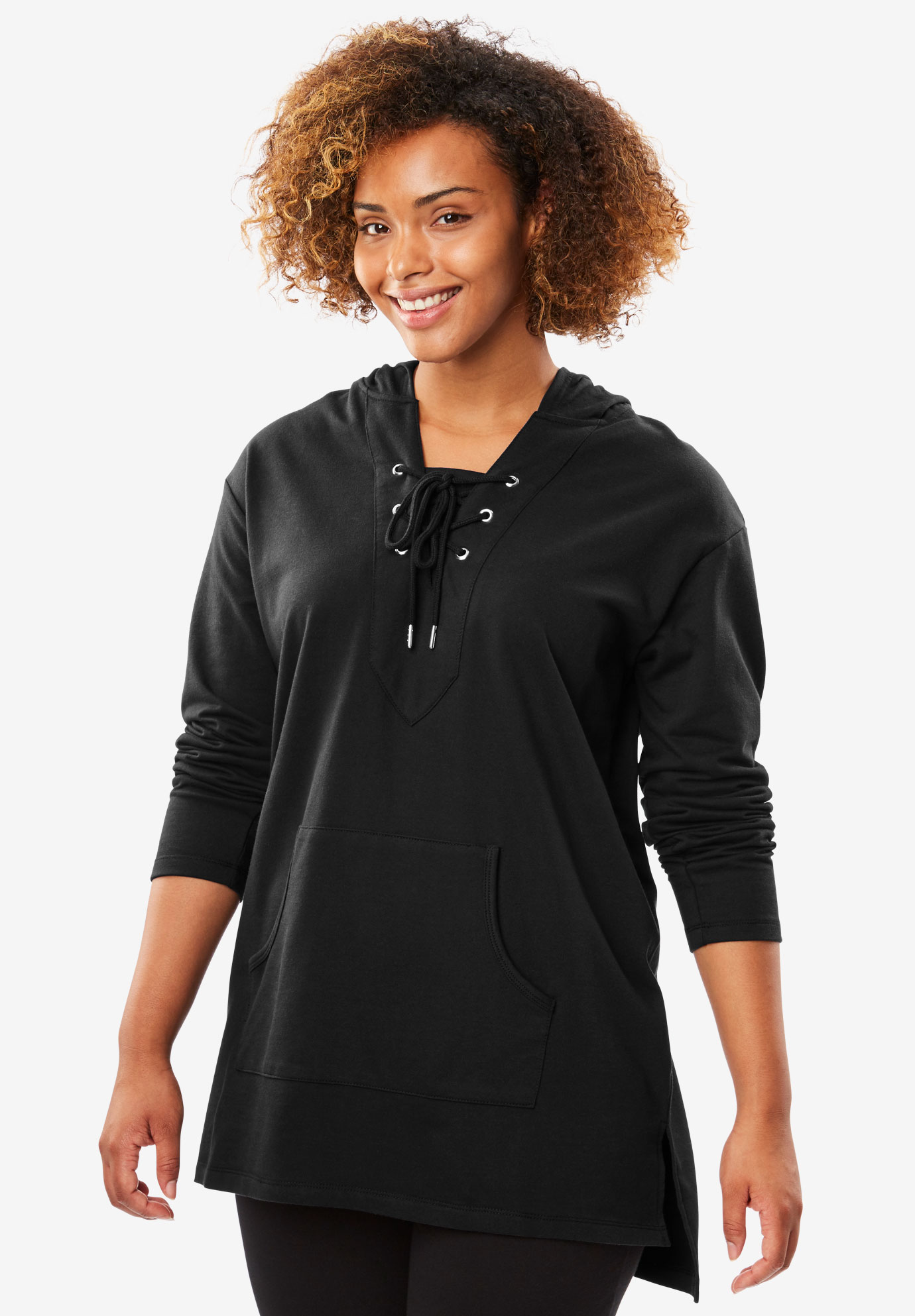 Lace-up hooded sweatshirt tunic, BLACK, hi-res