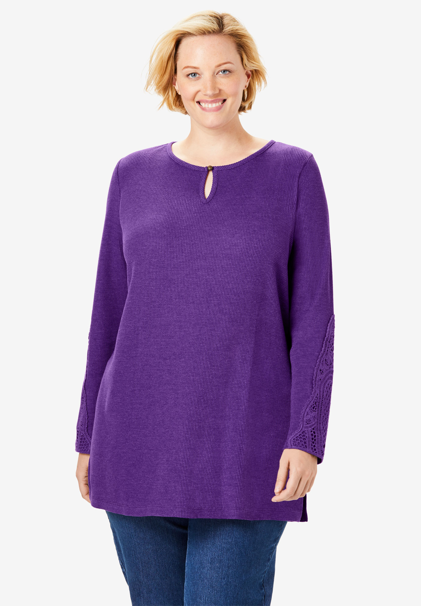 Keyhole Crochet Thermal Tunic,