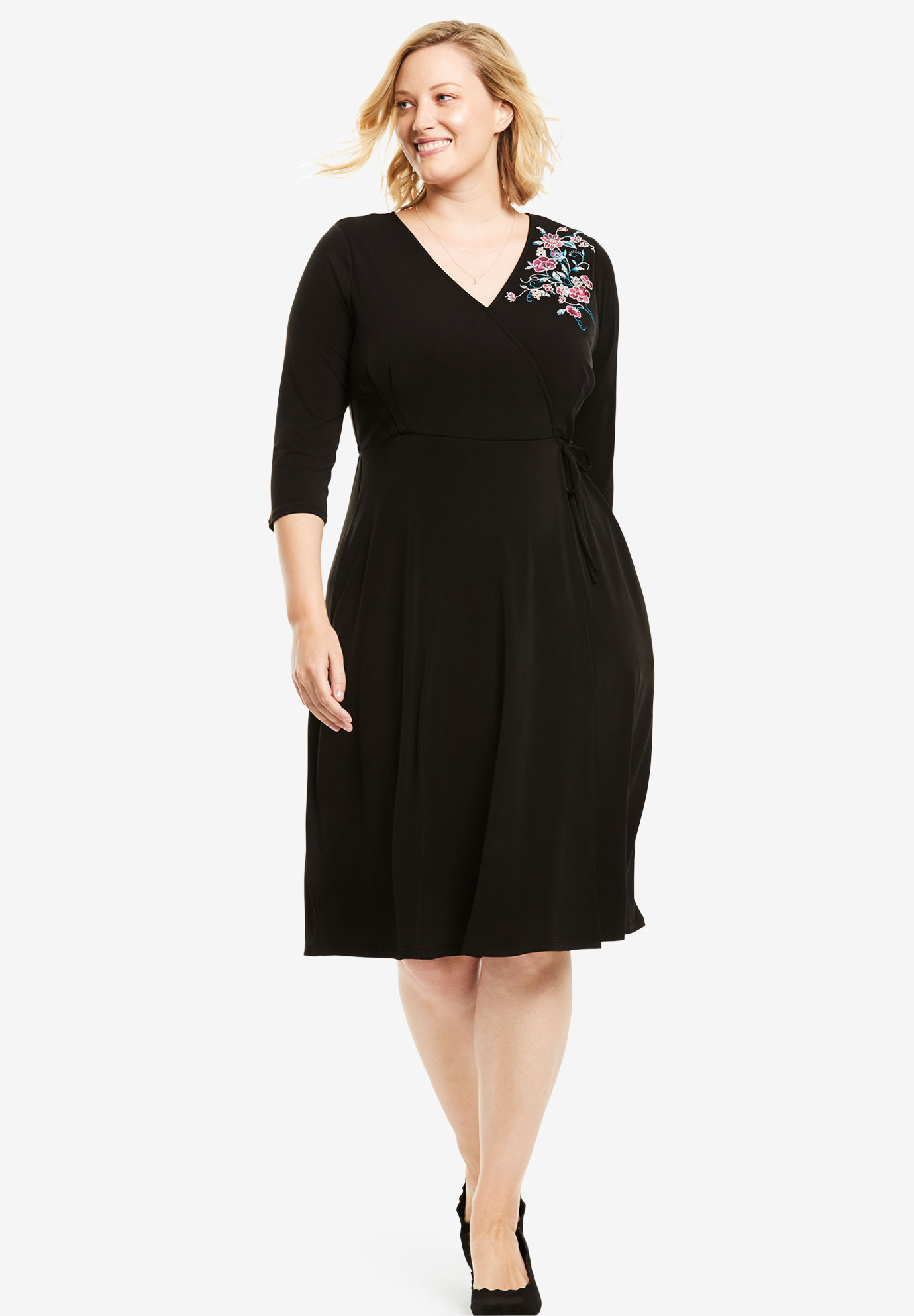 Floral Embroidered Faux Wrap Dress,