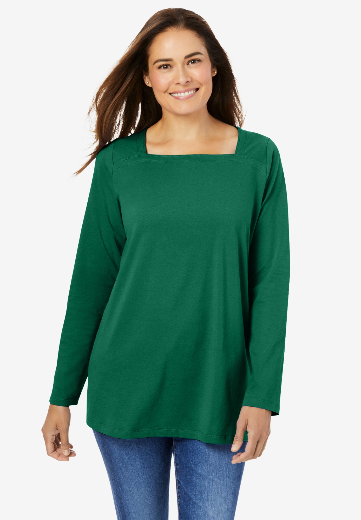 Perfect Long-Sleeve Square-Neck Tee,