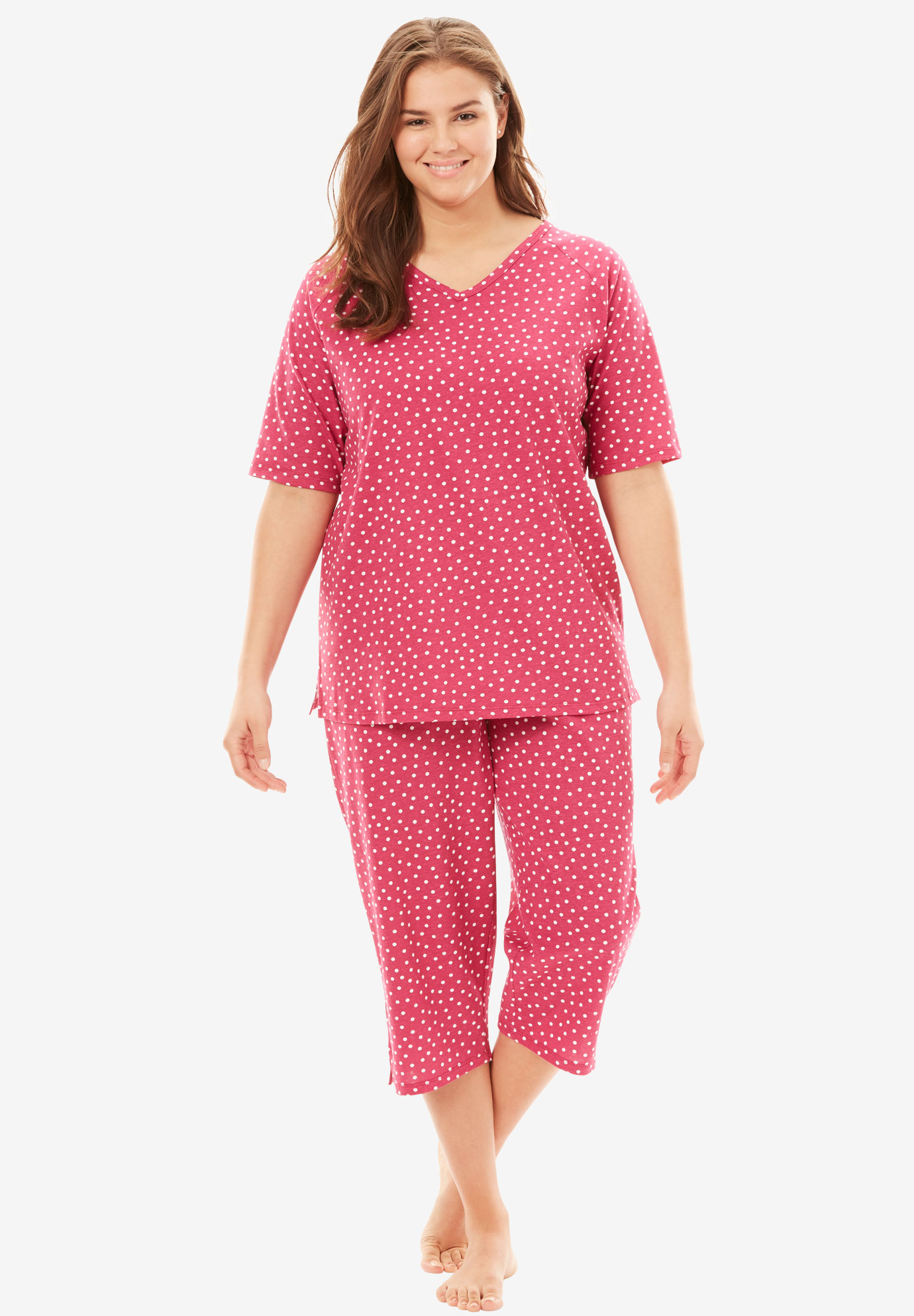 Knit Capri PJ Set by Dreams & Co®, BRIGHT BERRY DOT, hi-res