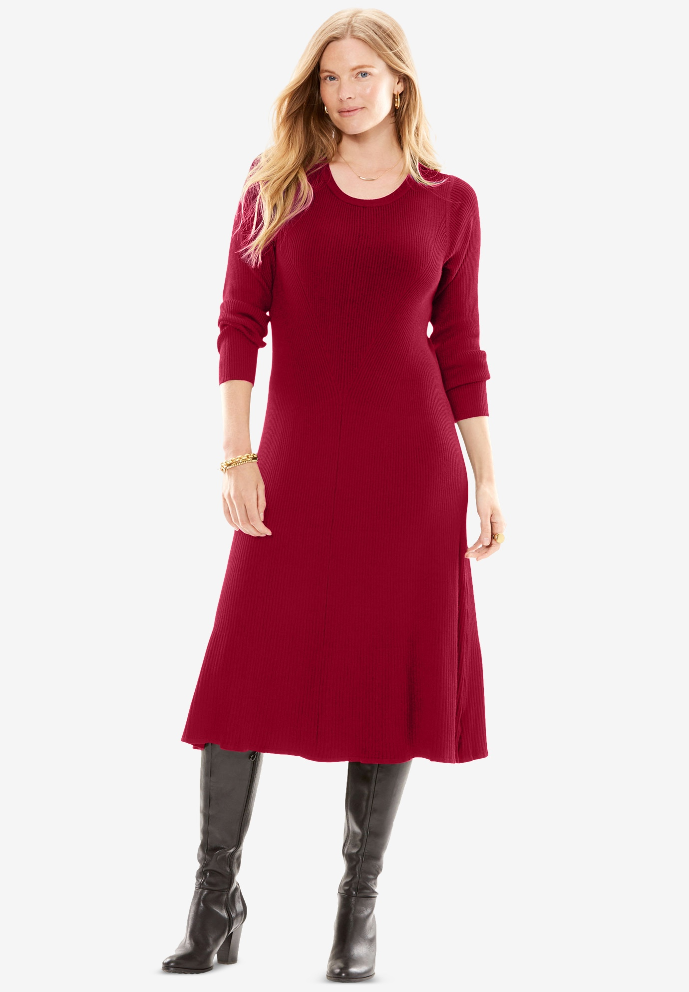 Rib Knit Sweater Dress,