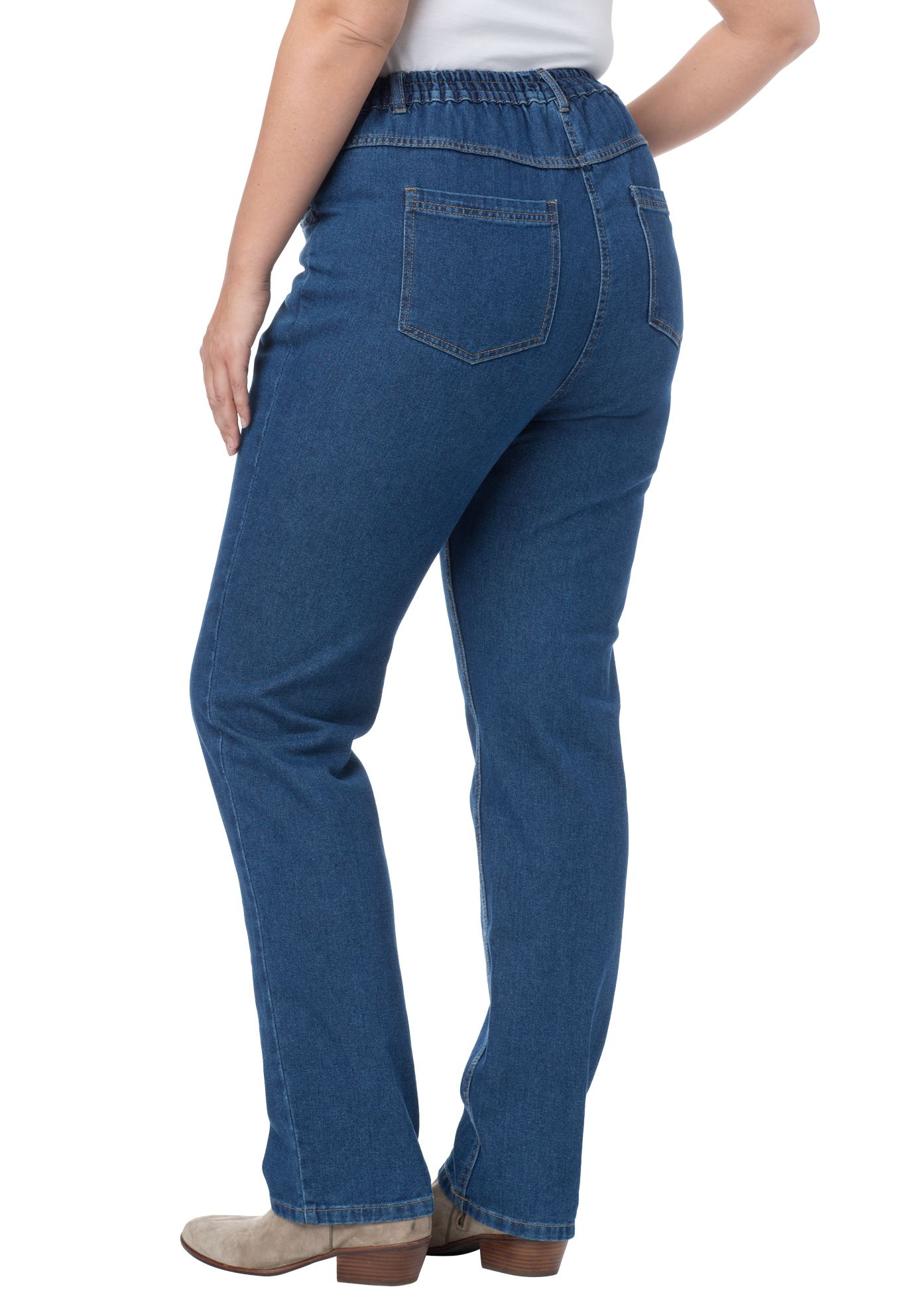 Elastic-Back Straight Leg Jean, , hi-res