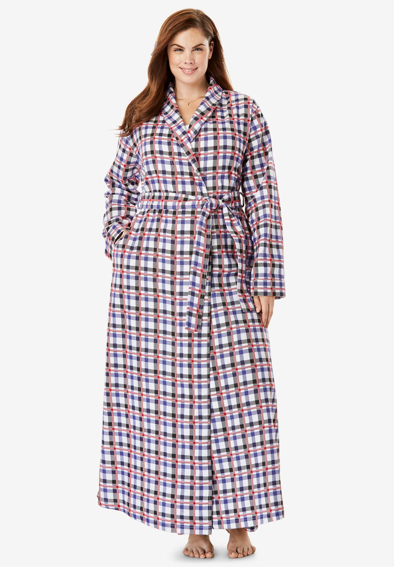 Long Flannel Robe by Dreams & Co.® | Plus Size Robes & Slippers ...