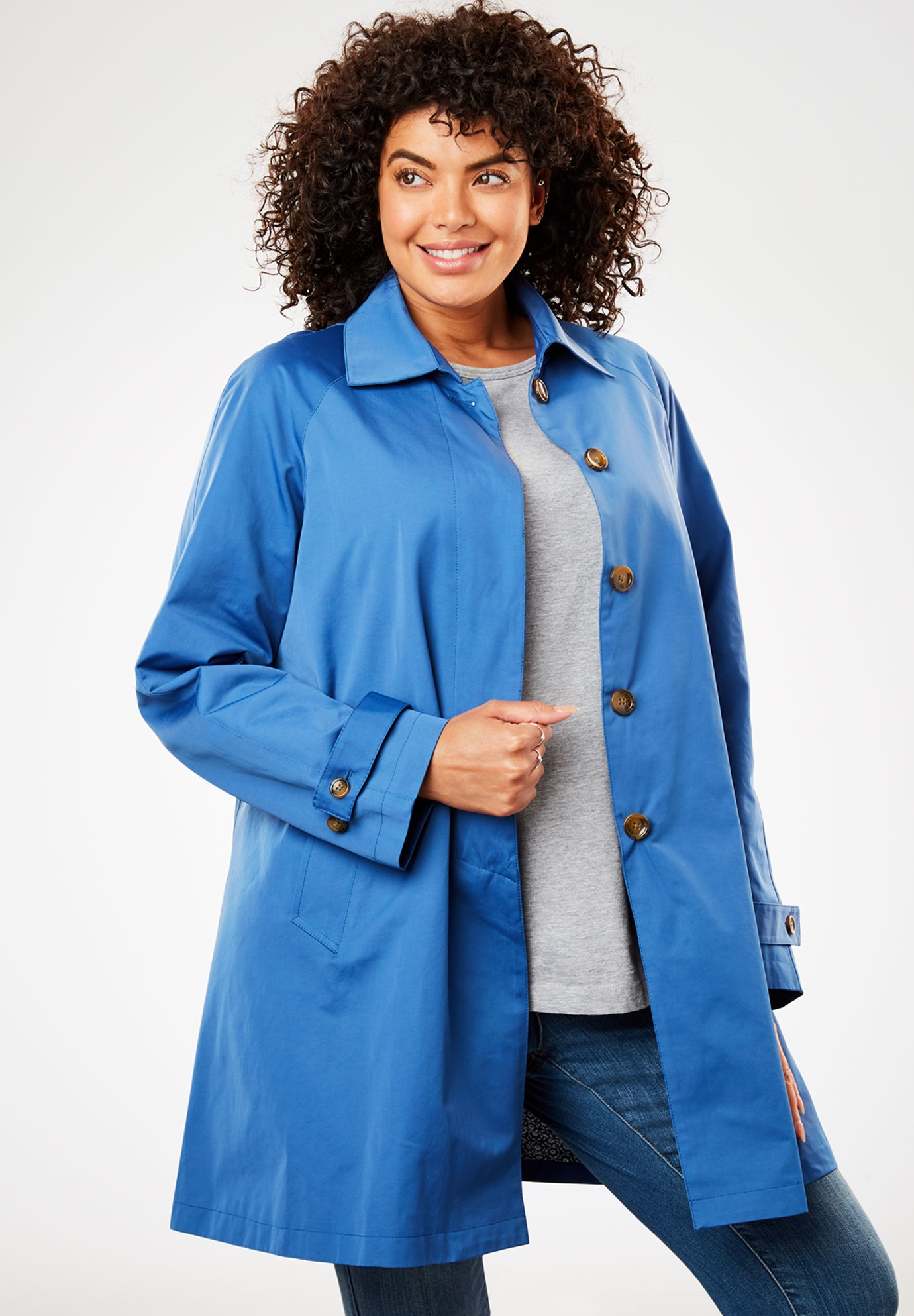 Water-resistant A-line raincoat,