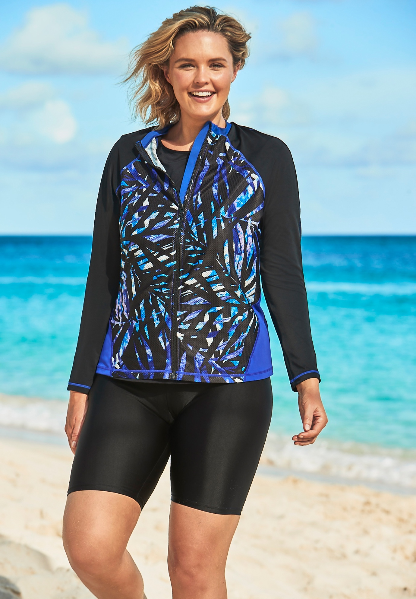 Long-Sleeve Colorblock Swim Tee by Swim 365,