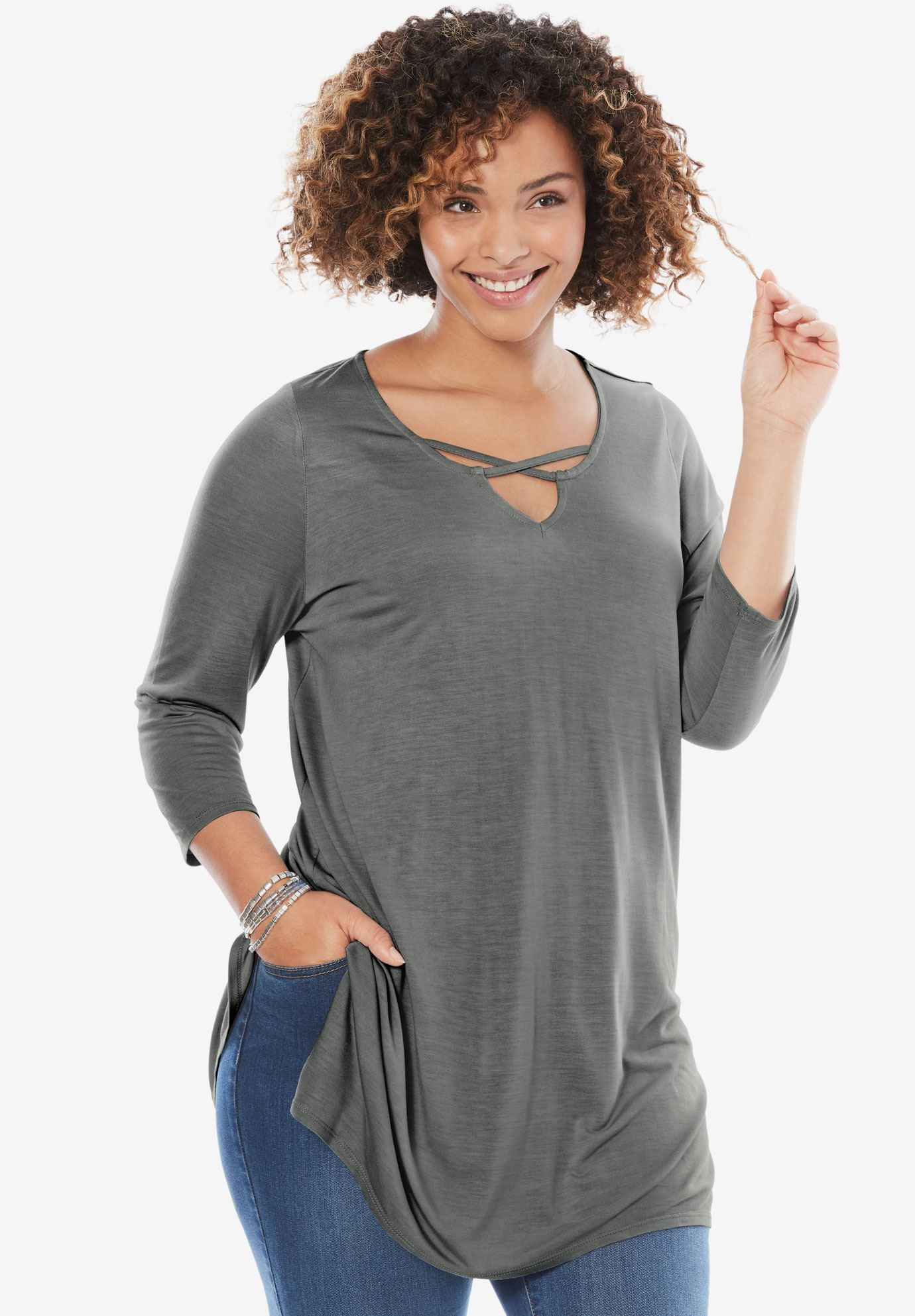 Crisscrossed V-Neck Tunic,