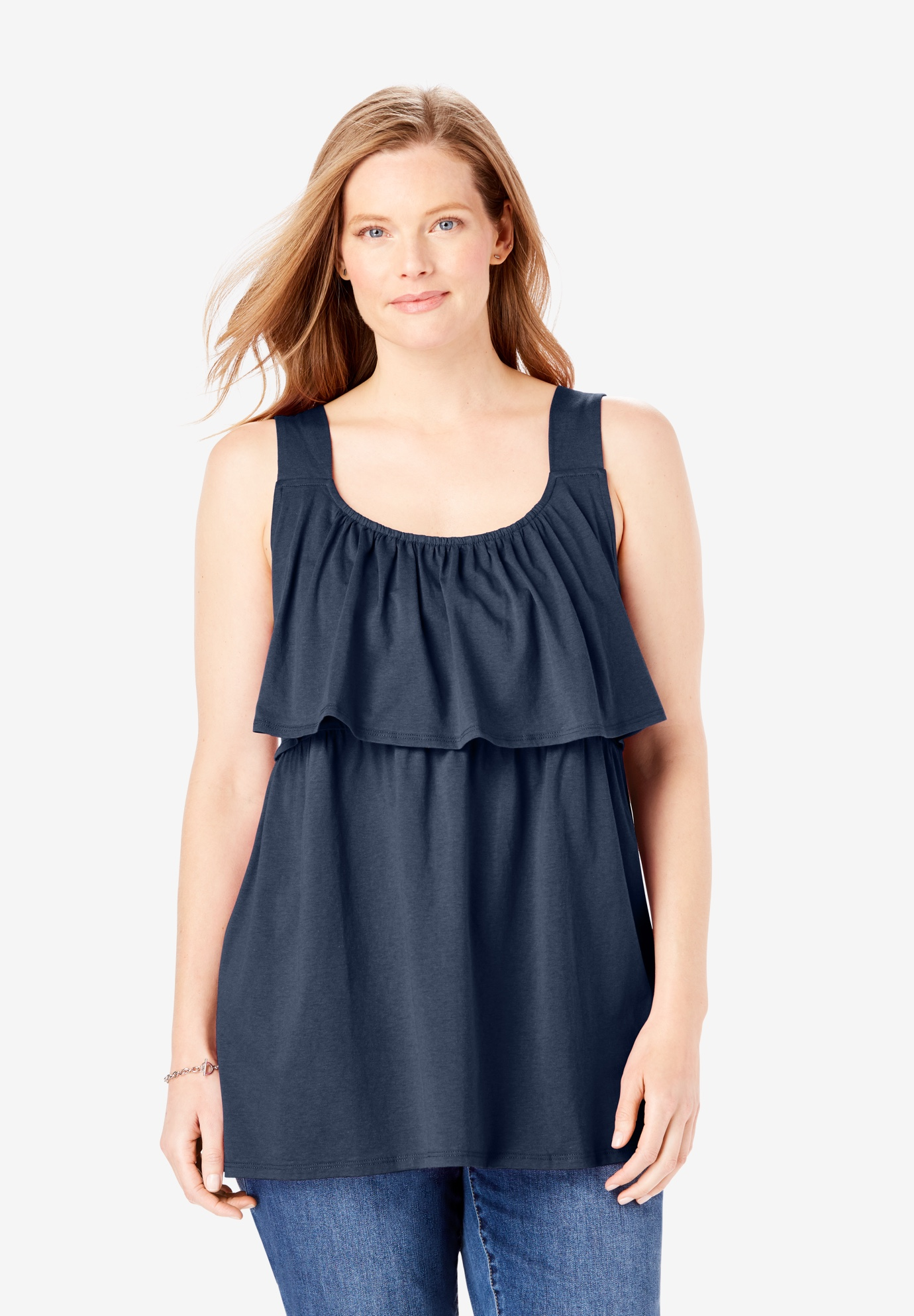 Ruffled Popover Tank Top,
