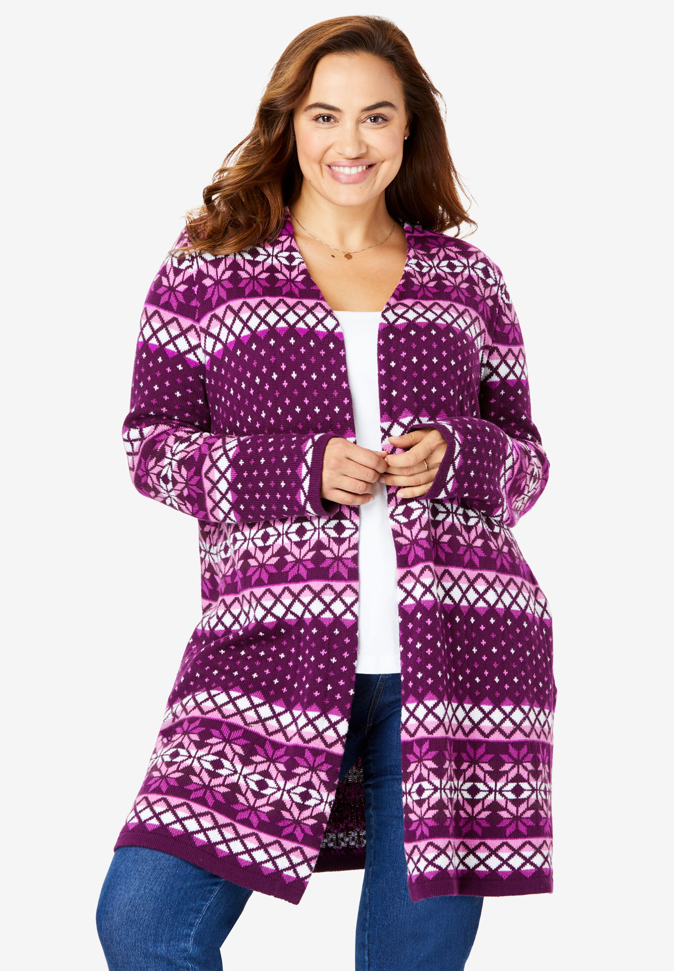 Open Front Fair Isle Knit Cardigan,