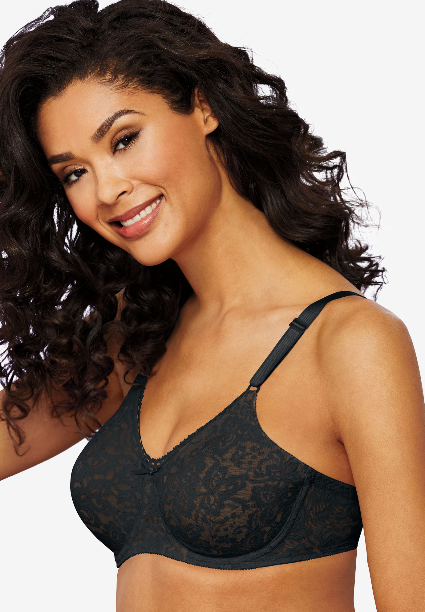 Bra with underwire and stretch lace by Bali®, BLACK, hi-res