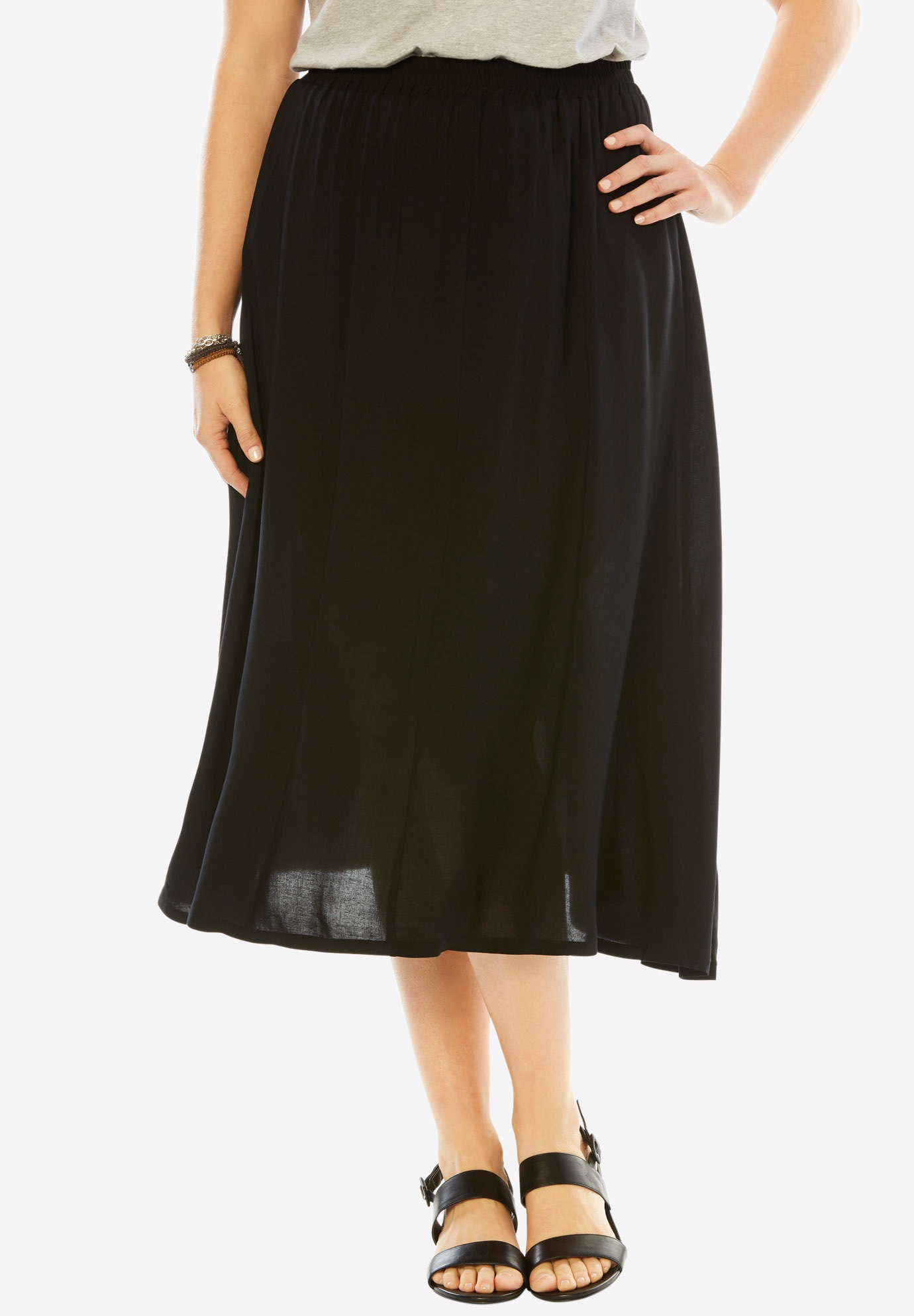 Soft A-Line Skirt, BLACK, hi-res