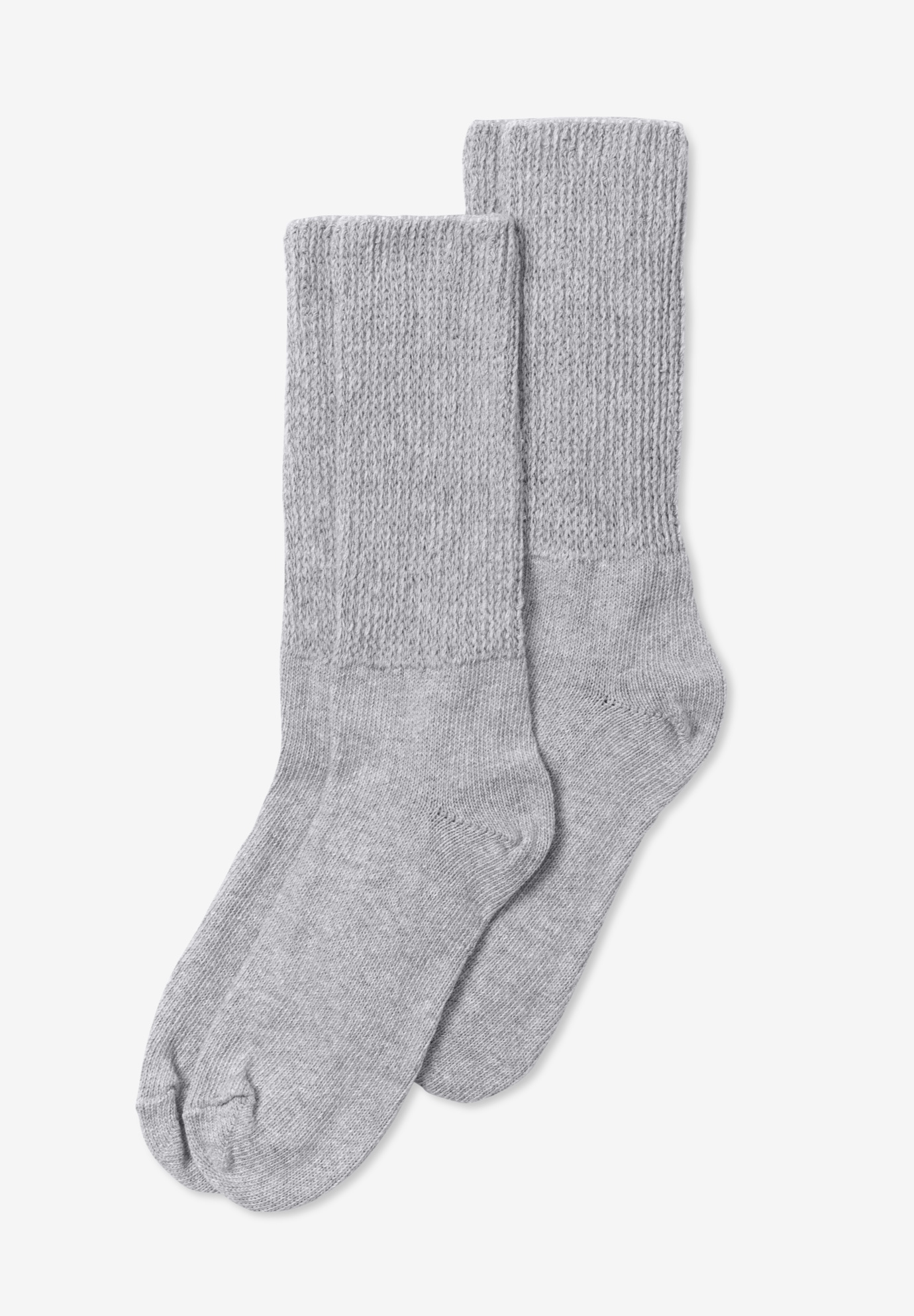 2-Pair Open Weave Extra Wide Socks by Comfort Choice®, HEATHER GREY, hi-res
