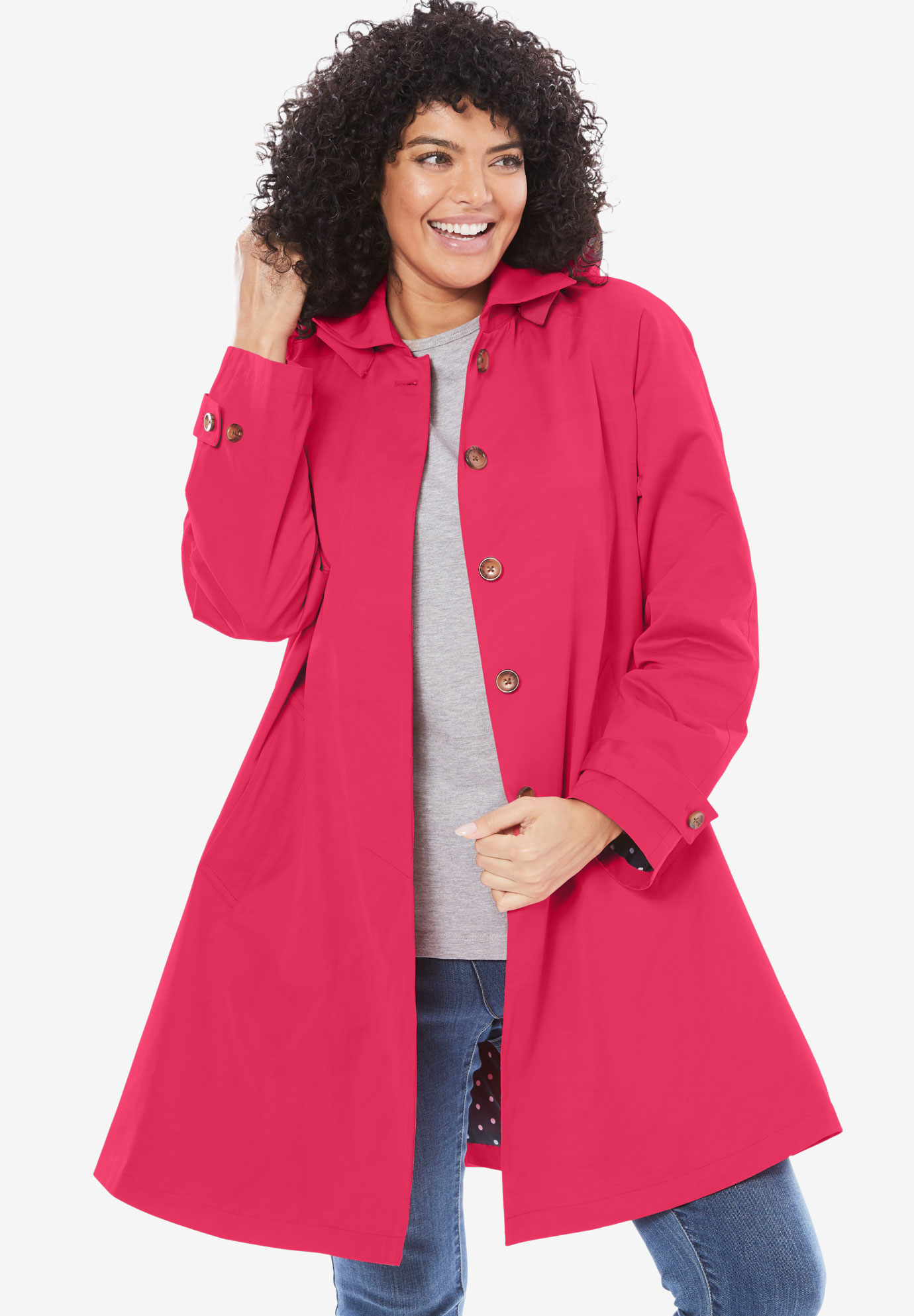 Classic raincoat with detachable hood,